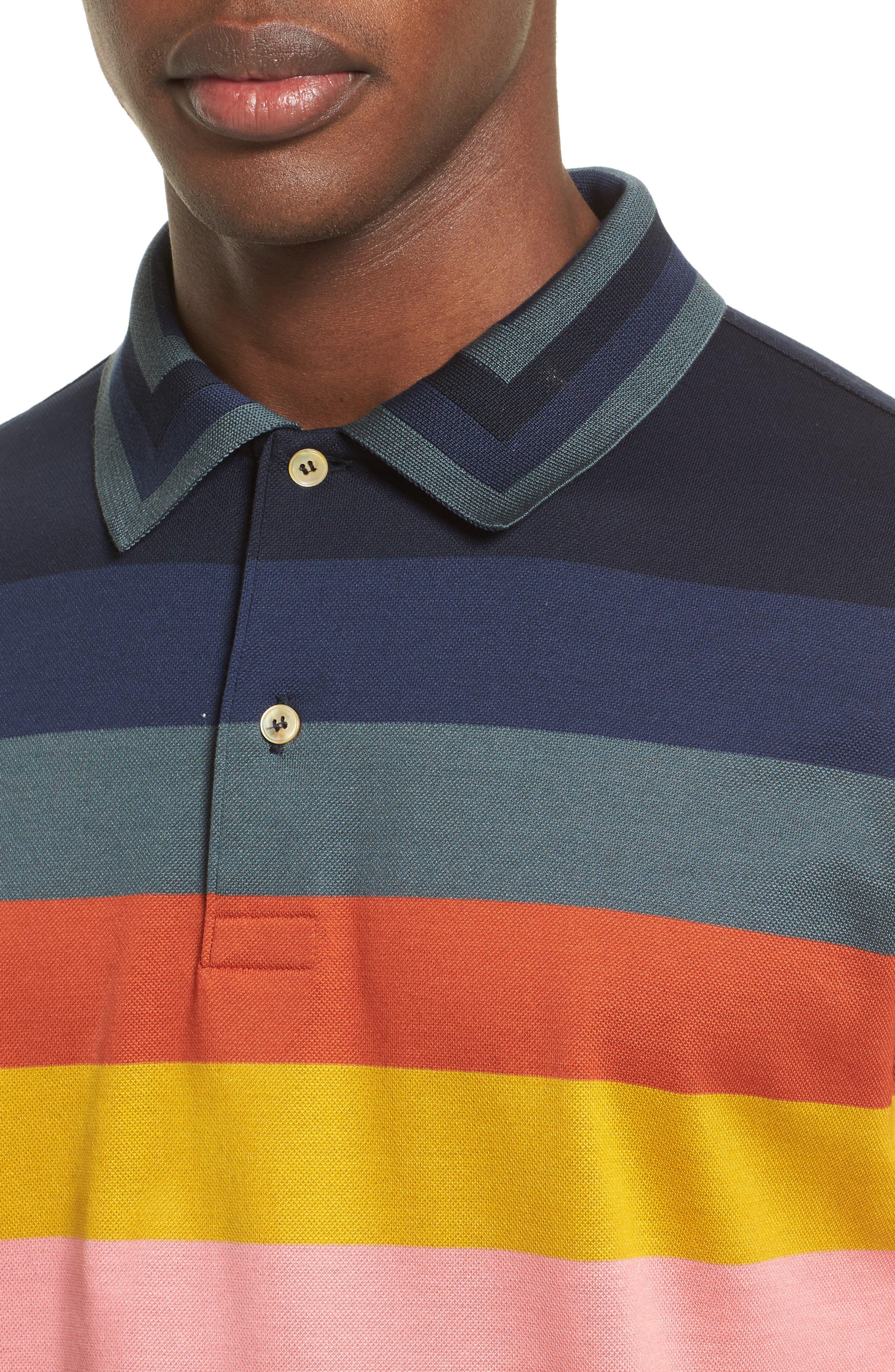 Multi Stripe Piqué Polo,                             Alternate thumbnail 4, color,                             400