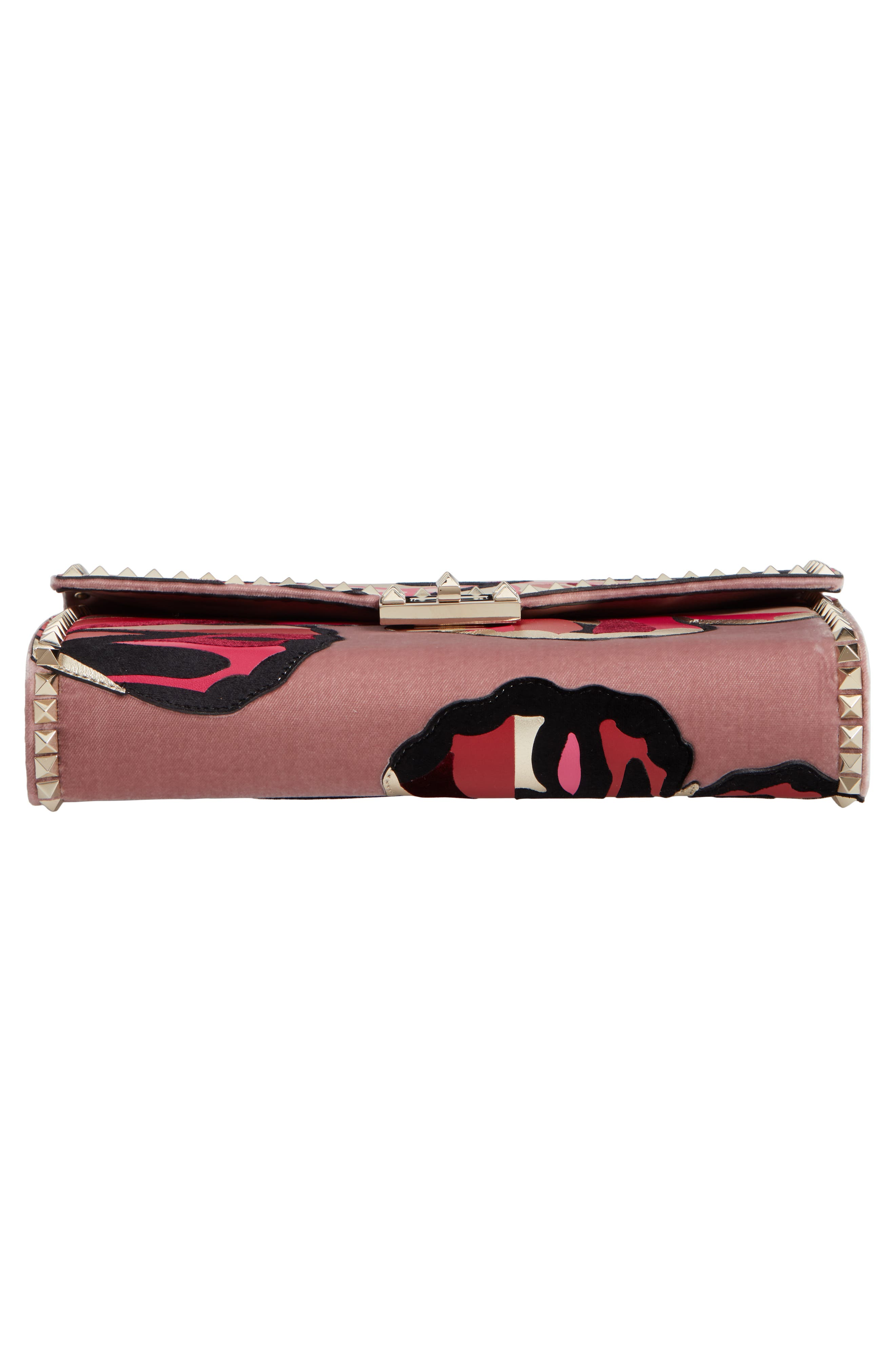 VALENTINO GARAVANI,                             Patchwork Butterfly Leather & Textile Shoulder Bag,                             Alternate thumbnail 6, color,                             LIP