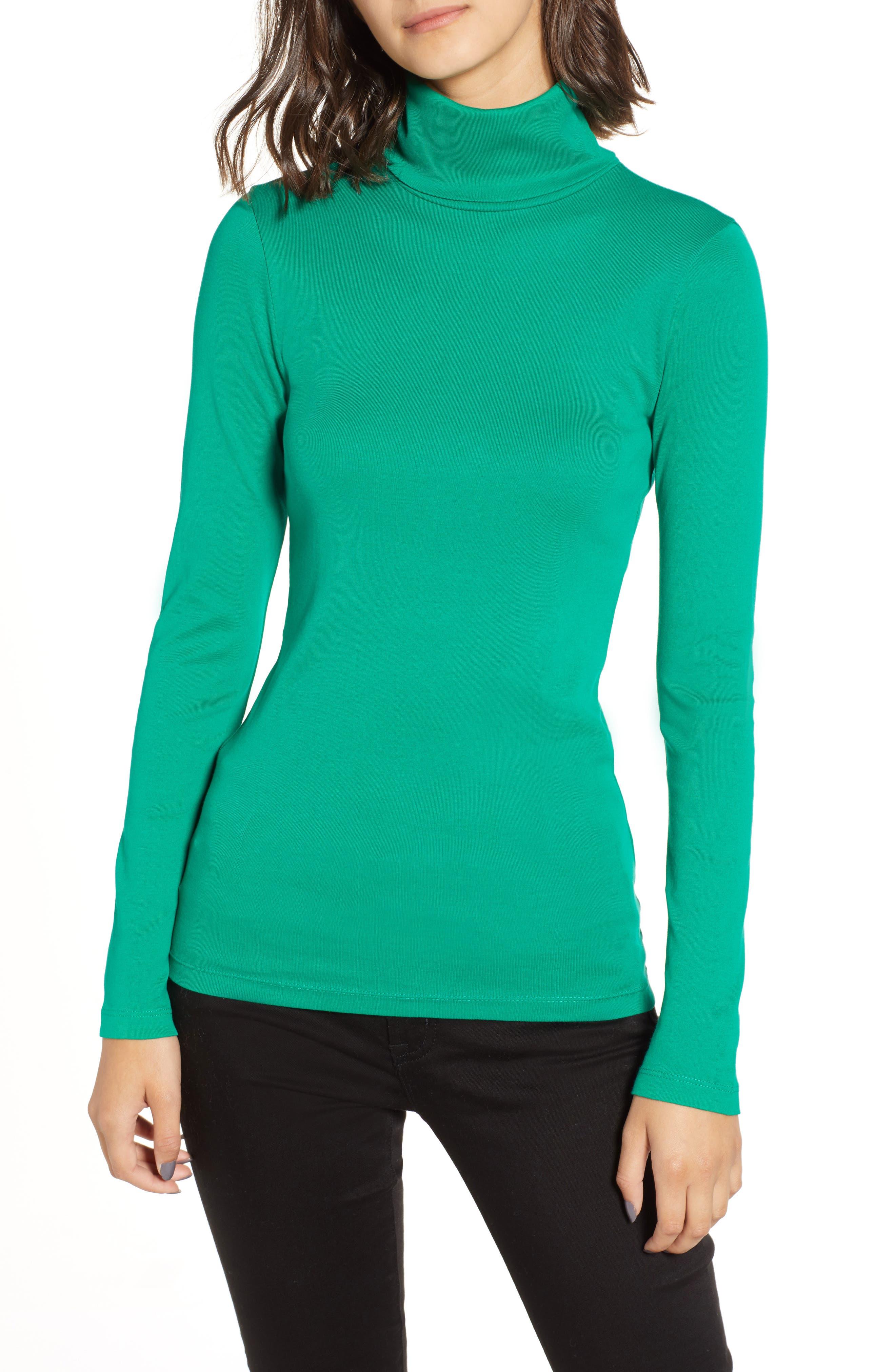 Perfect Fit Turtleneck, Main, color, DUBLIN GREEN