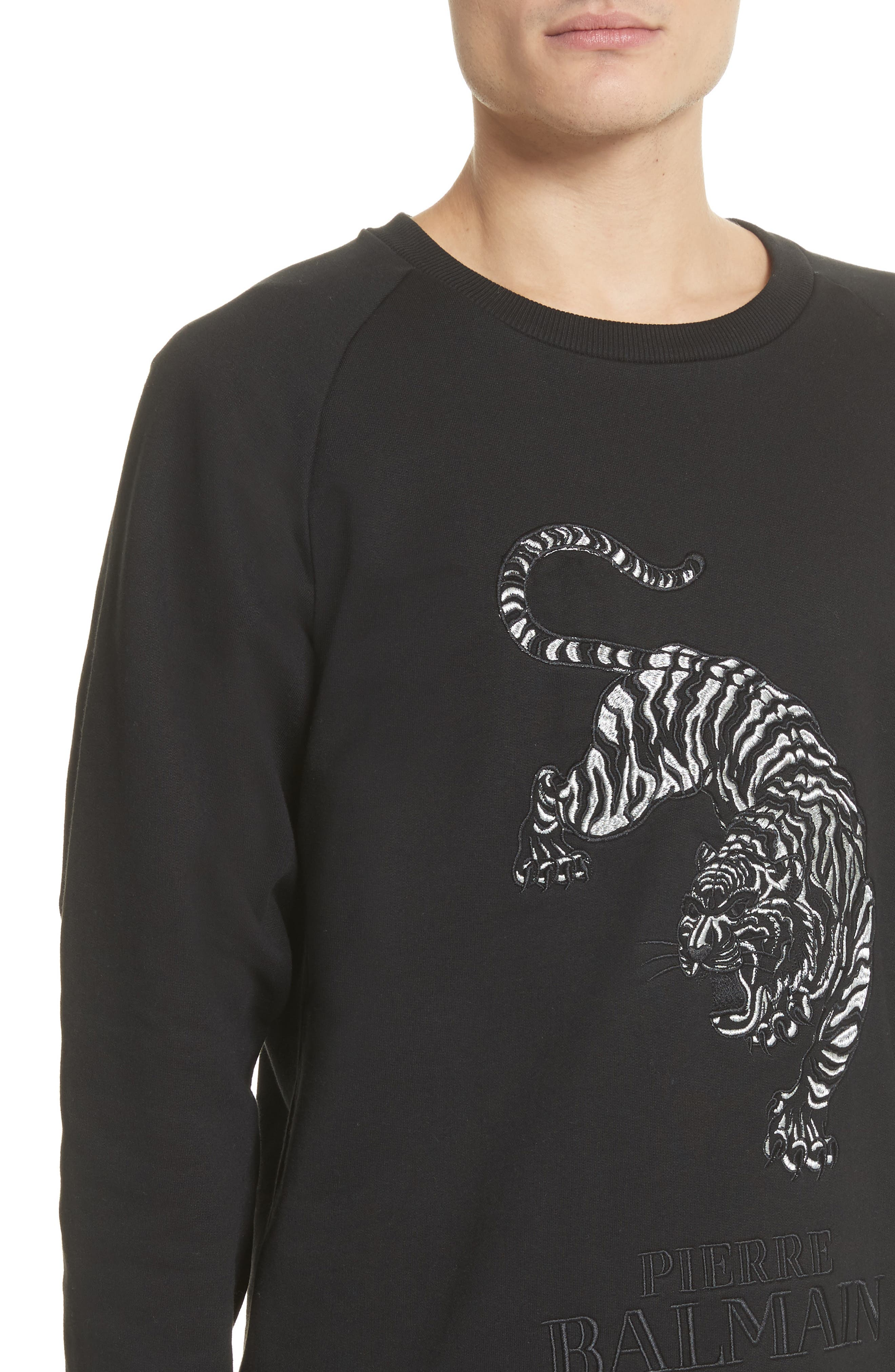 Embroidered Tiger Sweatshirt,                             Alternate thumbnail 4, color,                             001