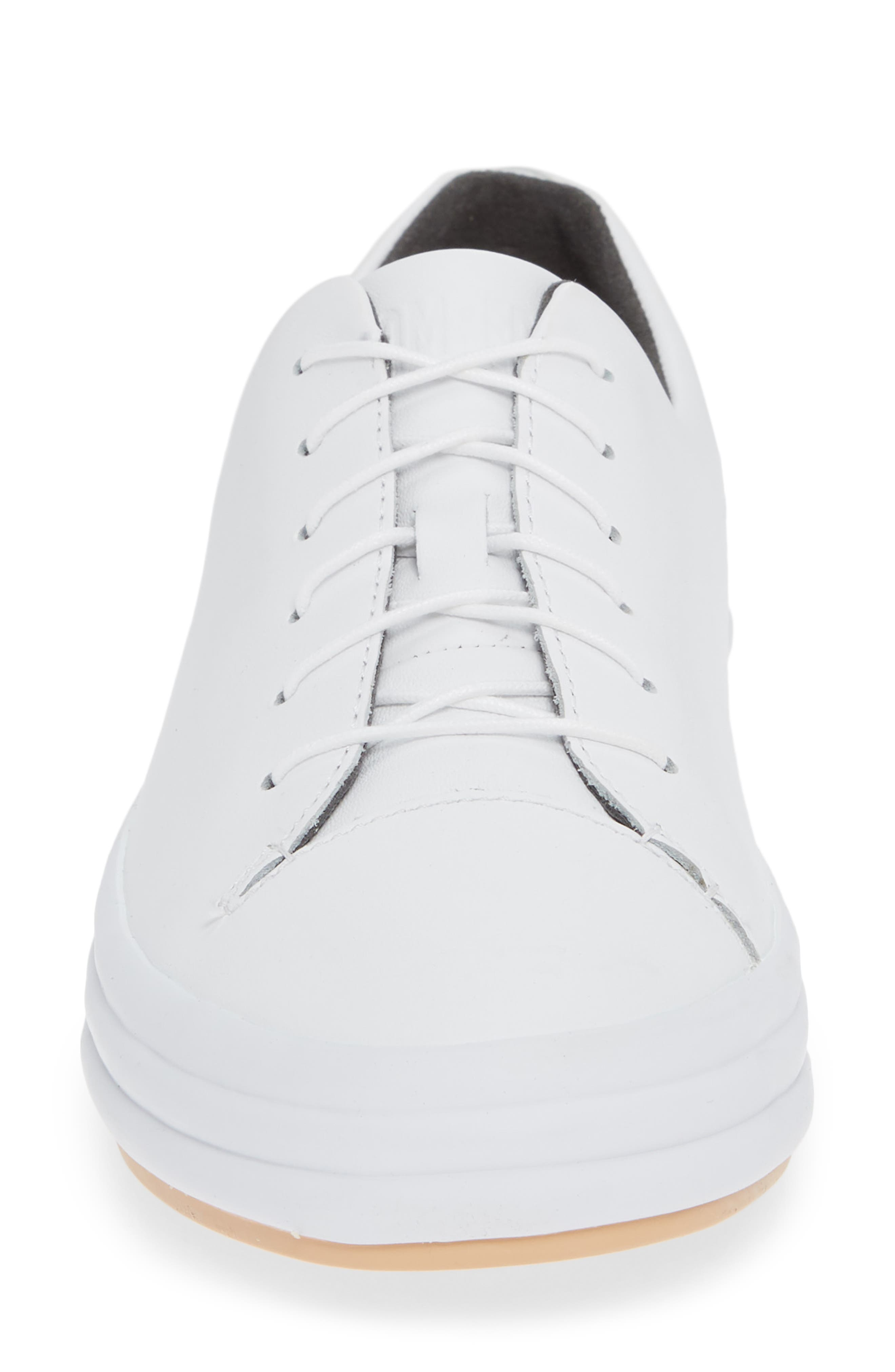 Hoops Sneaker,                             Alternate thumbnail 4, color,                             WHITE LEATHER