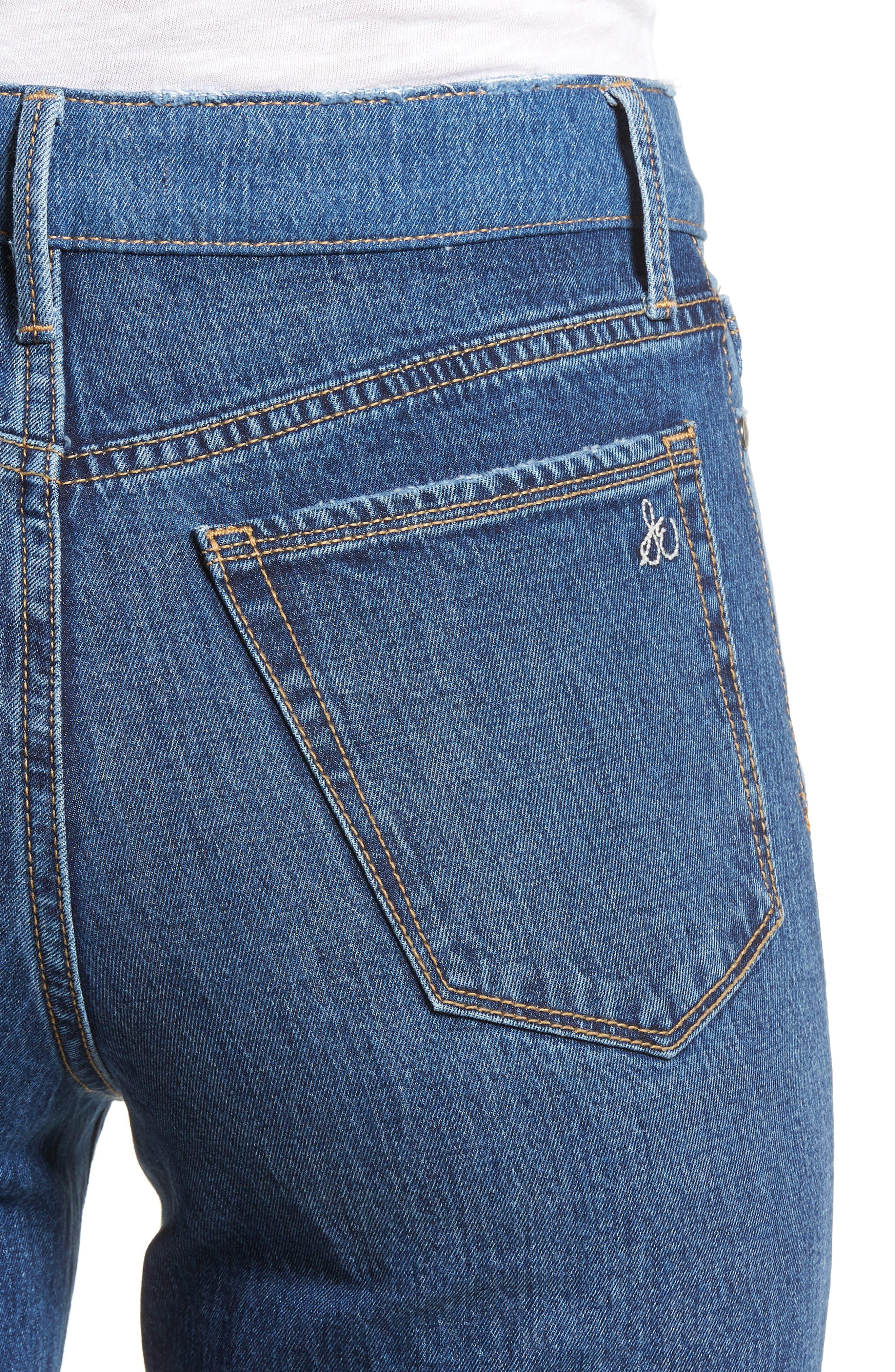 The Mary Jane Fringe Hem Contrast Jeans,                             Alternate thumbnail 4, color,                             410