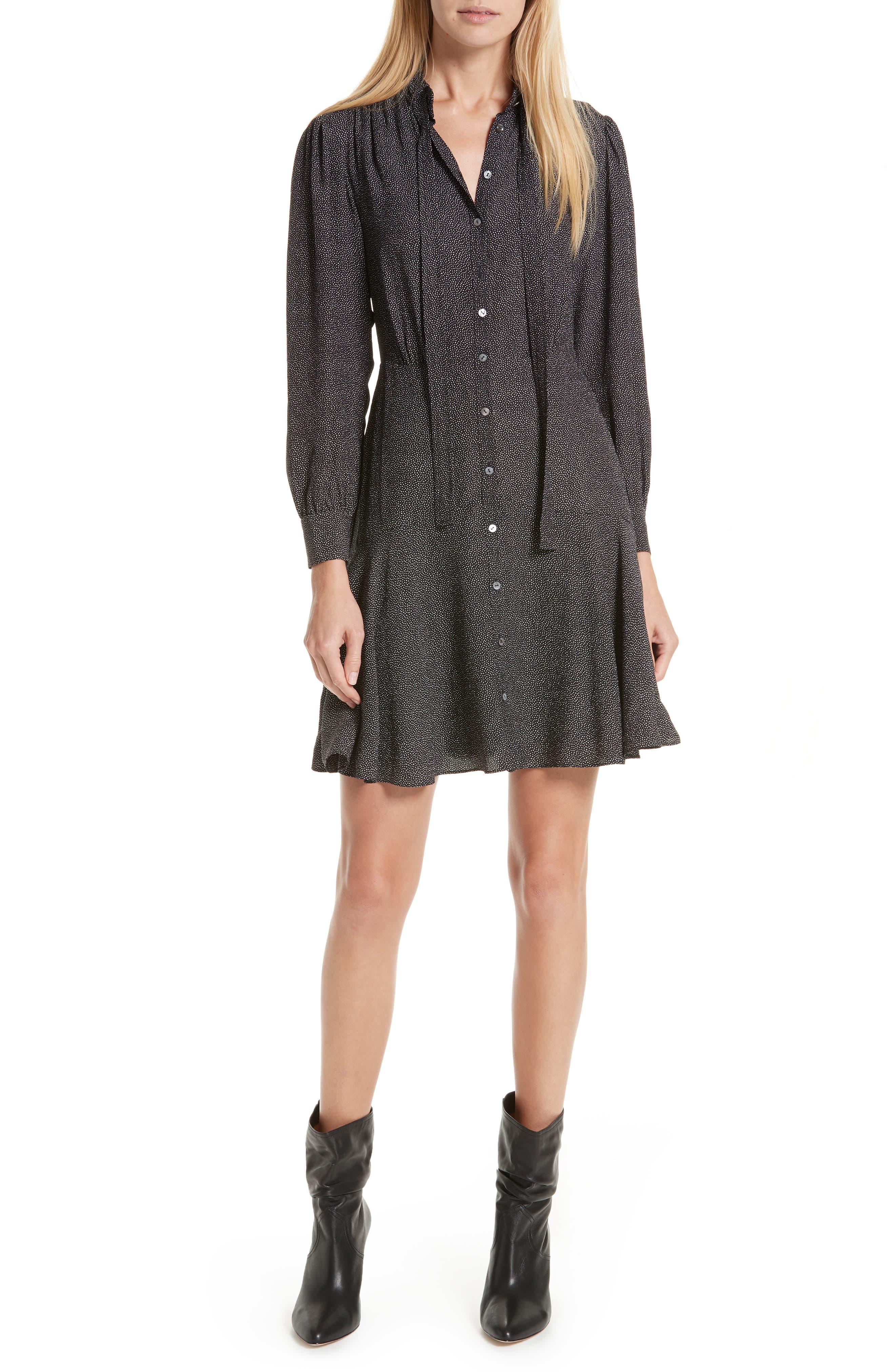 Sprinkle Dot Tie Neck Silk Dress,                         Main,                         color, BLACK