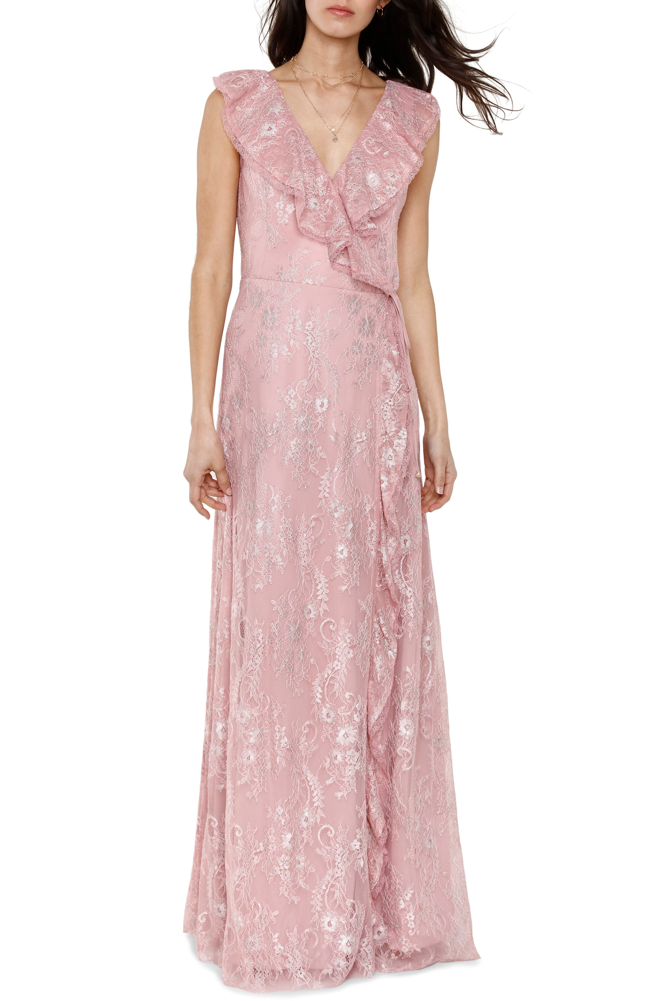 Rio Ruffle Lace Wrap Gown,                         Main,                         color, CALYPSO