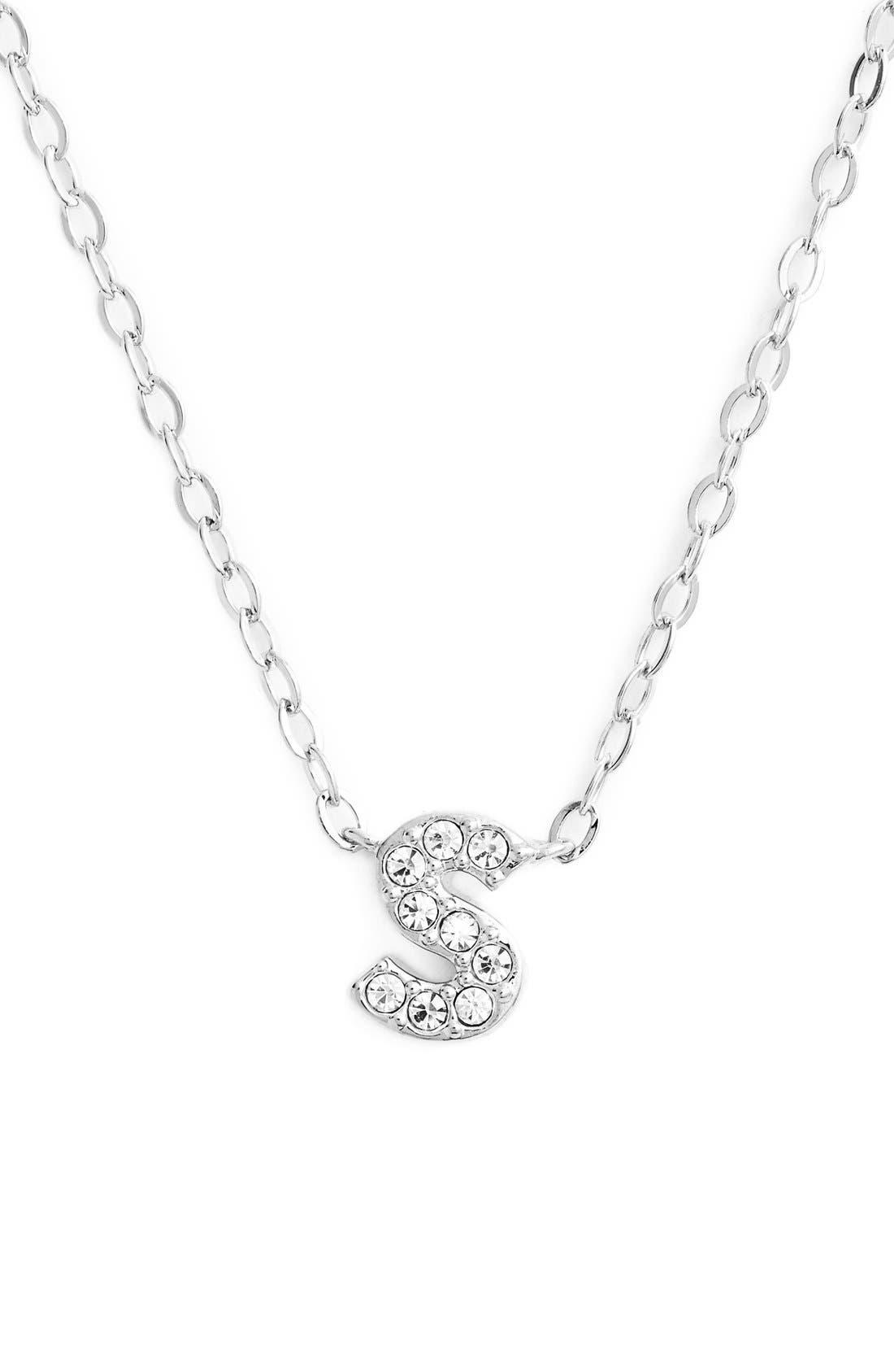 Initial Pendant Necklace,                         Main,                         color, S SILVER