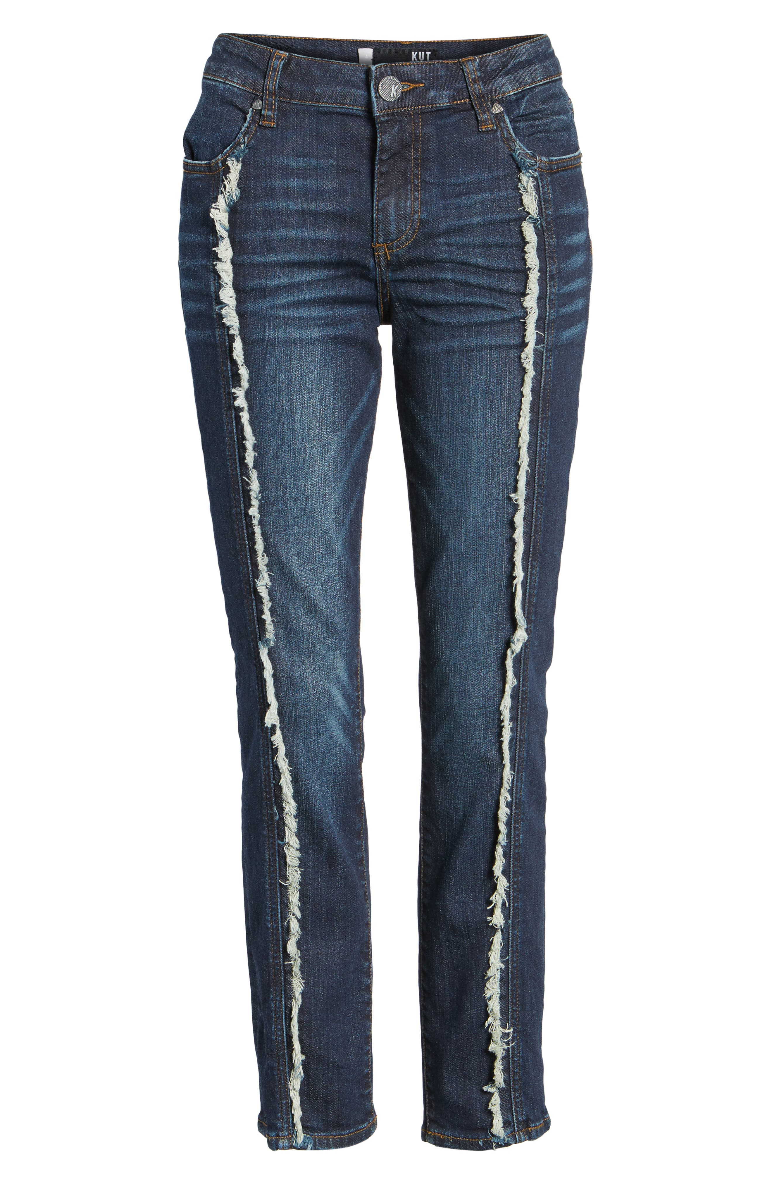 KUT FROM THE KLOTH,                             Reese Frayed Seam Ankle Straight Jeans,                             Alternate thumbnail 6, color,                             411