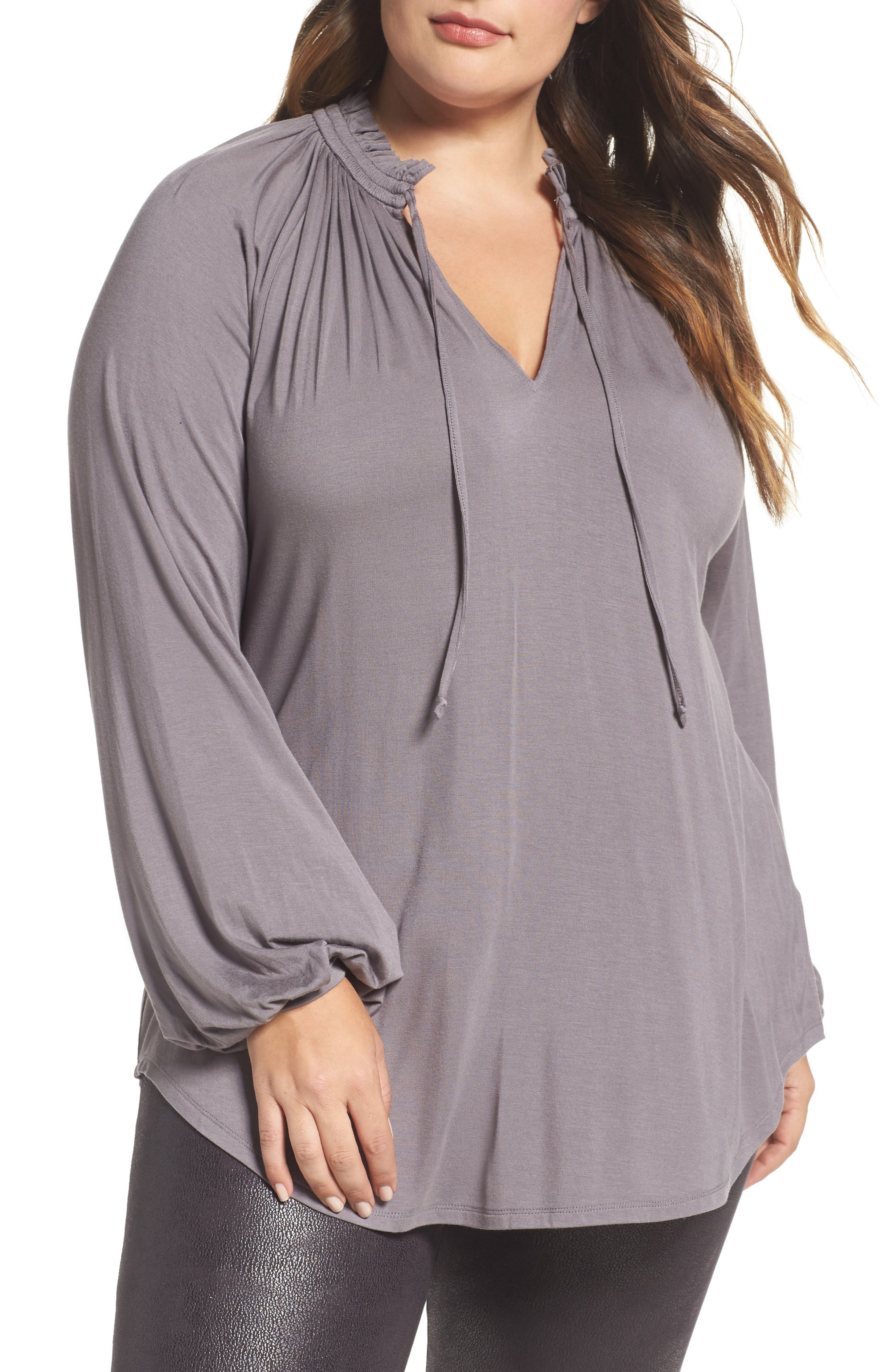 Melissa McCarthy Tie Neck Top,                             Main thumbnail 1, color,                             053