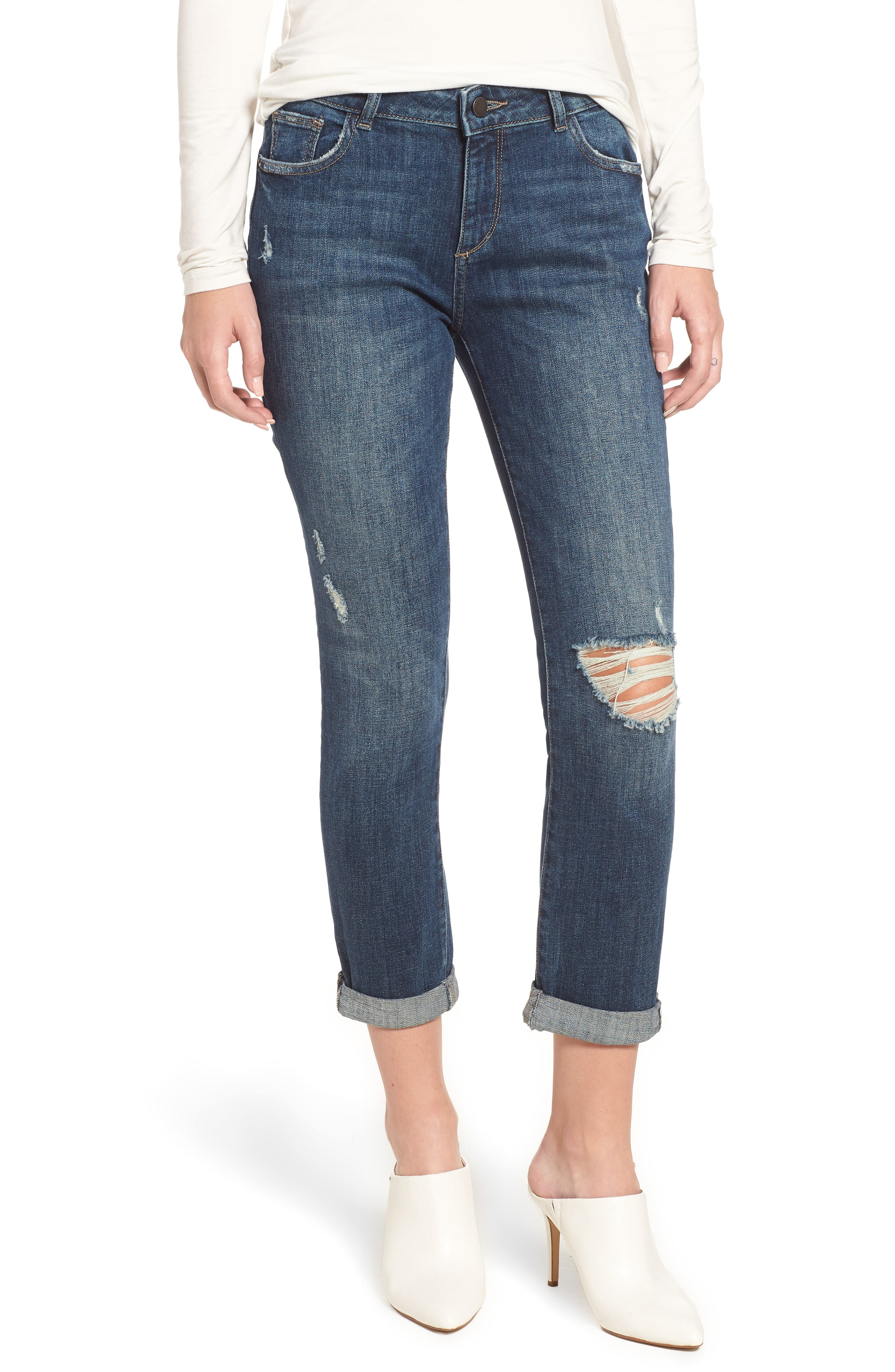 Stevie Ripped Crop Slim Boyfriend Jeans,                         Main,                         color, HAWLEY