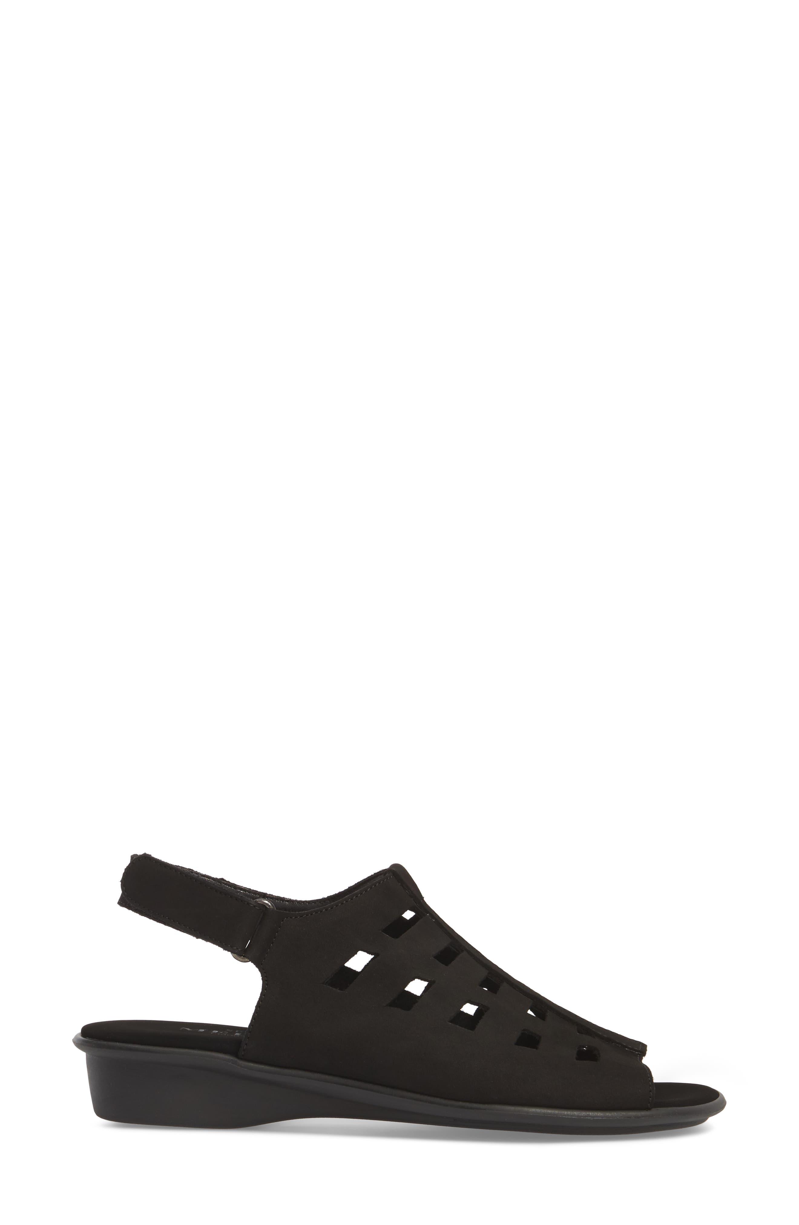 Elita Cutout Slingback Sandal,                             Alternate thumbnail 3, color,                             BLACK NUBUCK