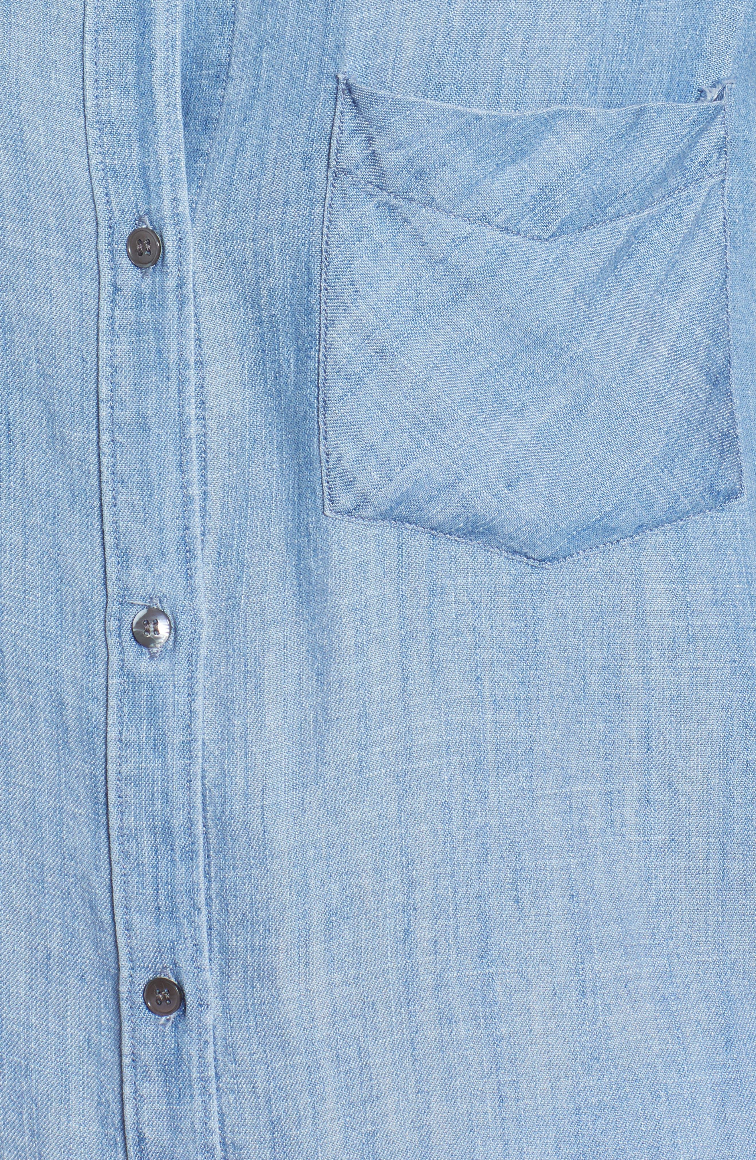 Ingrid Raw Hem Chambray Shirt,                             Alternate thumbnail 5, color,                             493