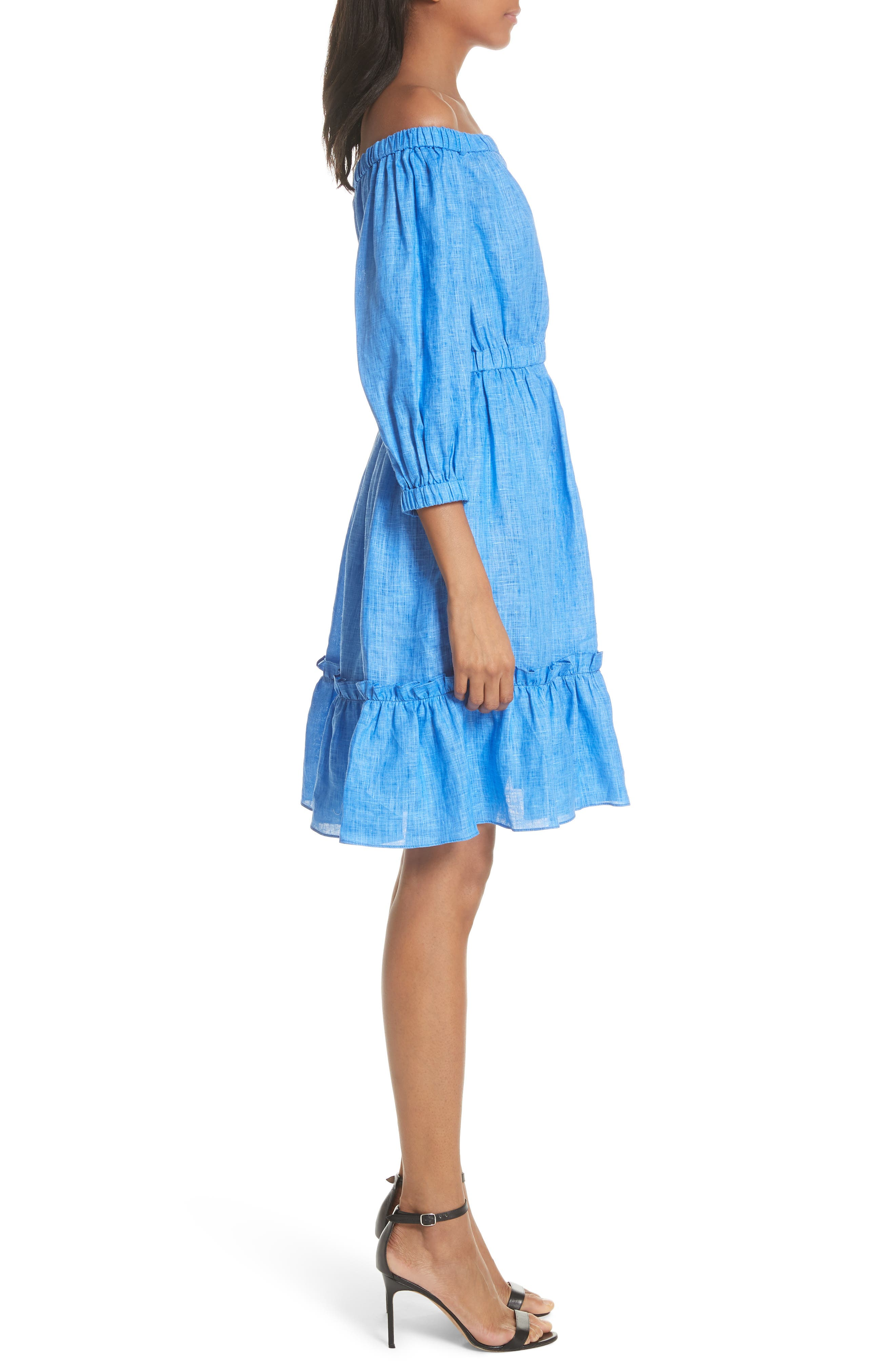 Amanda Off the Shoulder Italian Linen Dress,                             Alternate thumbnail 3, color,                             COBALT