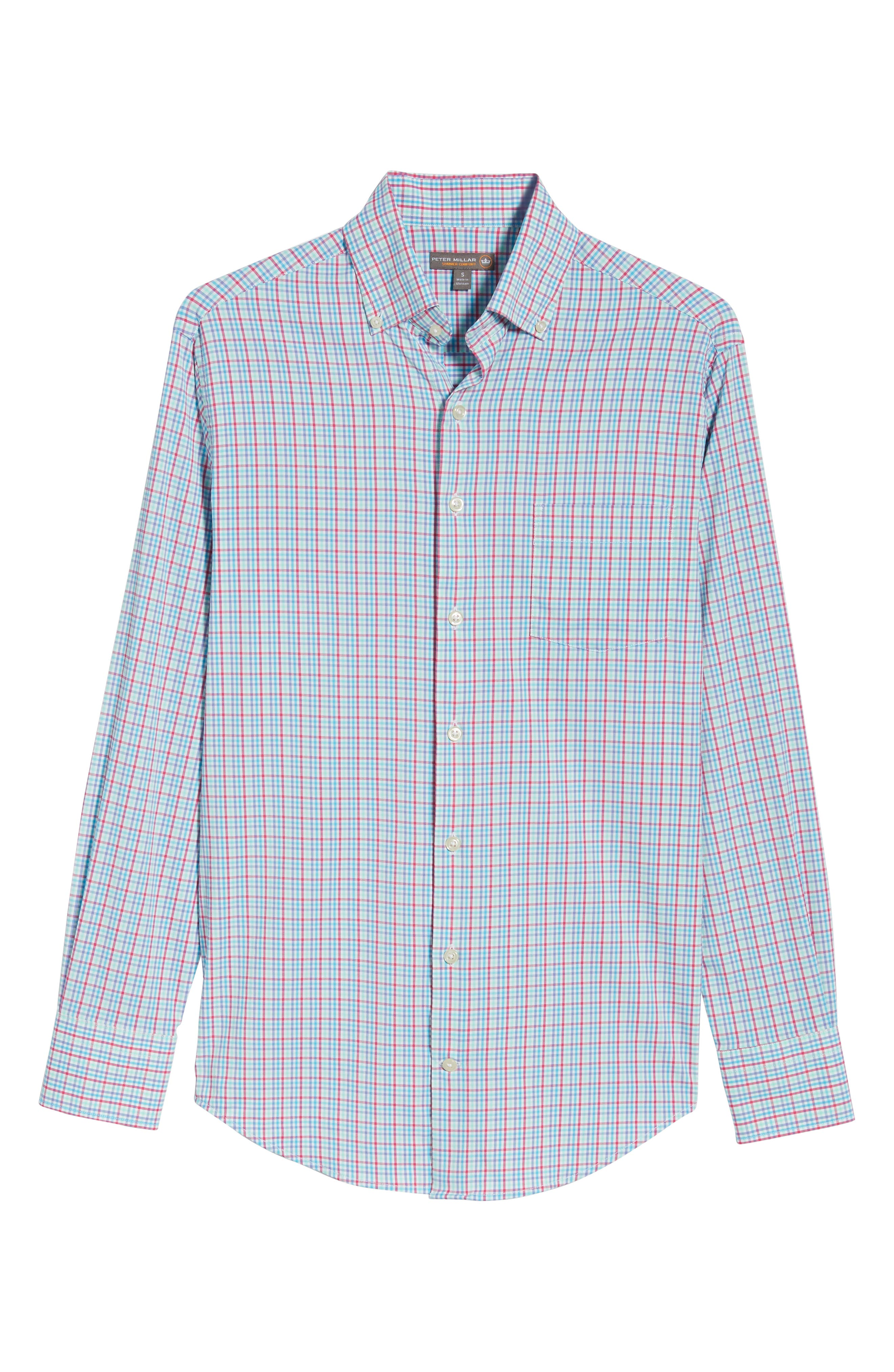 PETER MILLAR,                             Smedes Regular Fit Check Performance Sport Shirt,                             Alternate thumbnail 6, color,                             100