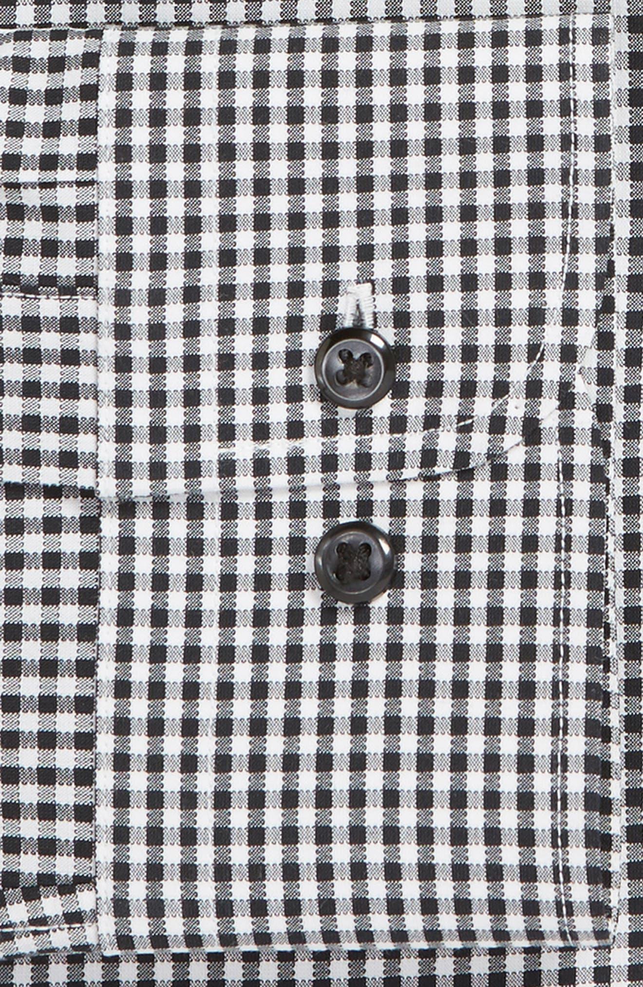 Tech-Smart Trim Fit Stretch Check Dress Shirt,                             Alternate thumbnail 6, color,                             BLACK ROCK