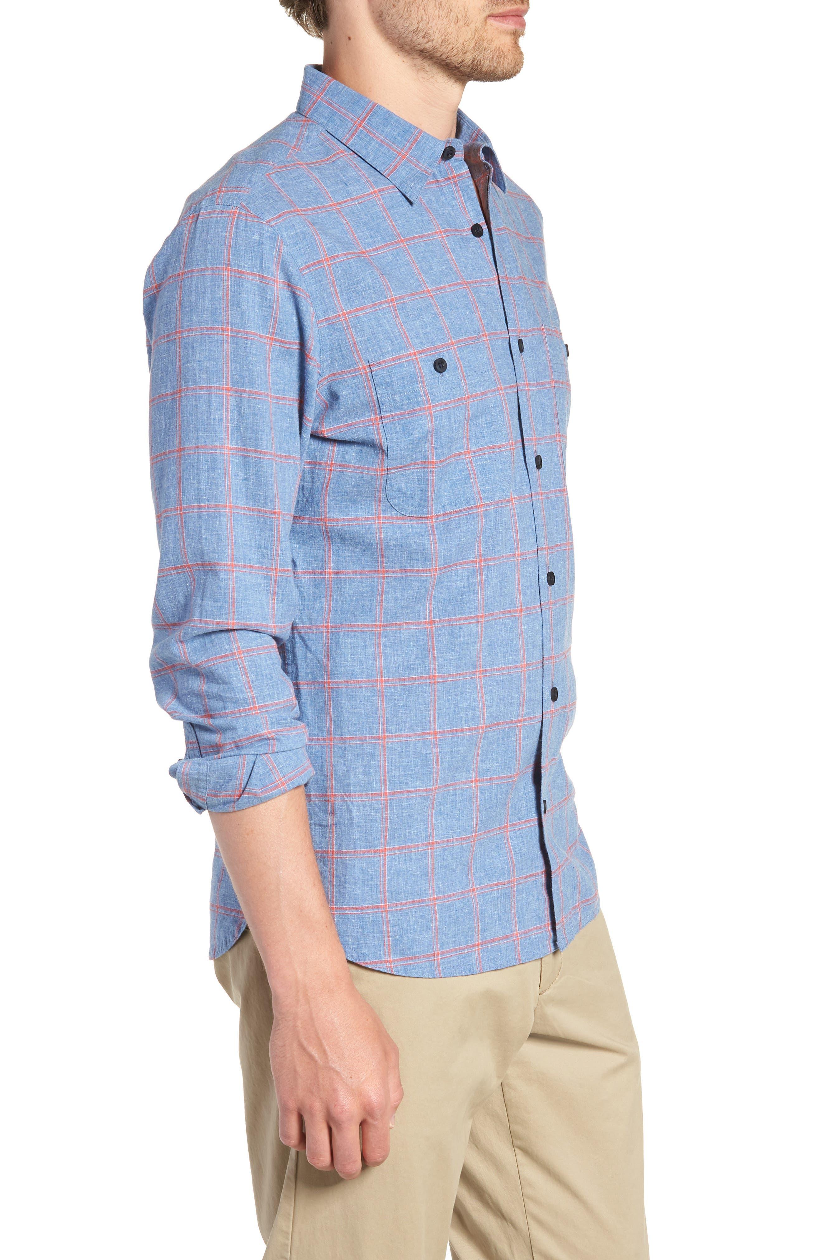Trim Fit Windowpane Linen & Cotton Sport Shirt,                             Alternate thumbnail 3, color,                             420