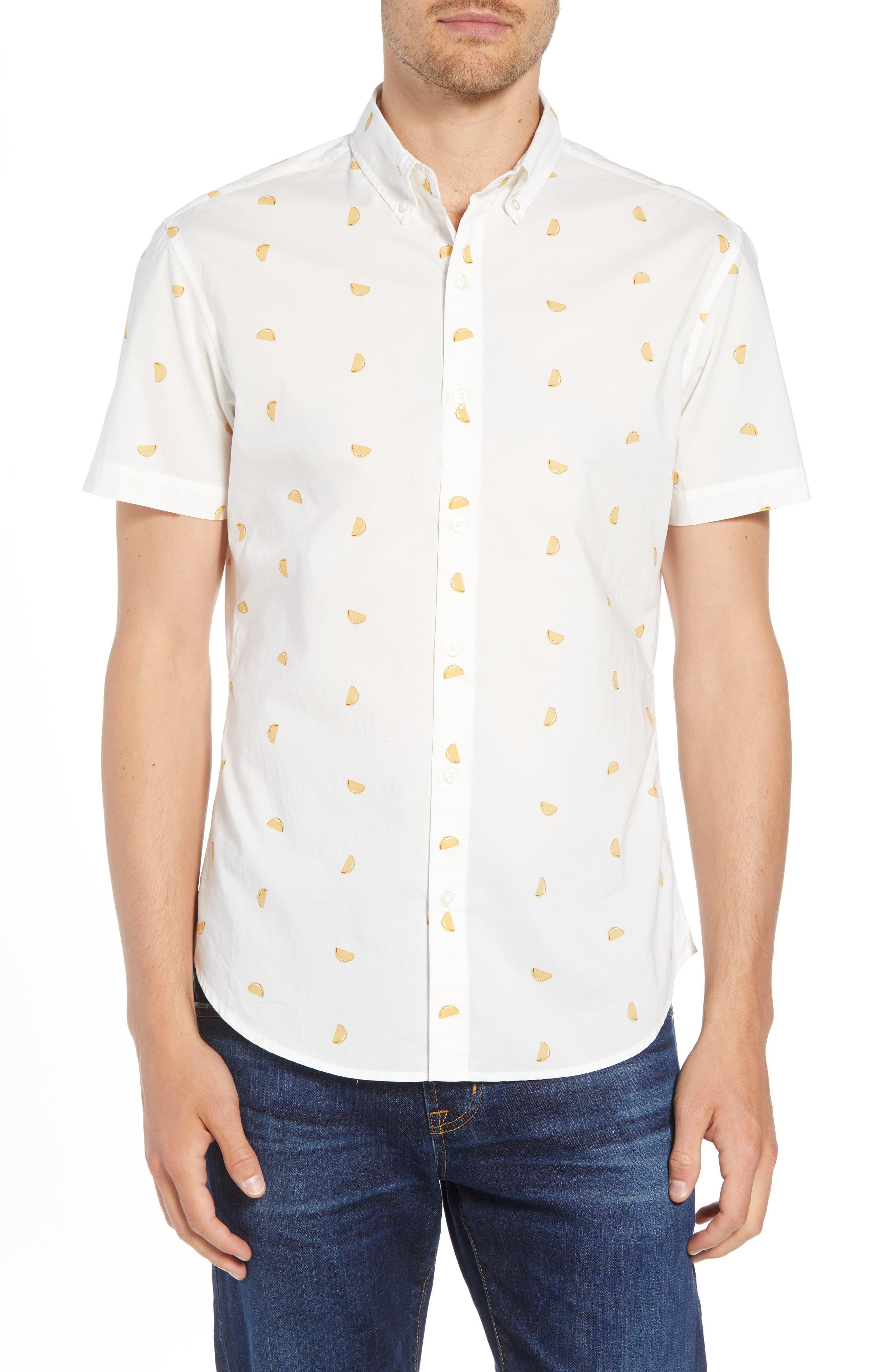 Riviera Slim Fit Taco Print Sport Shirt,                         Main,                         color, TACO TOSS - GOLDEN LOTUS