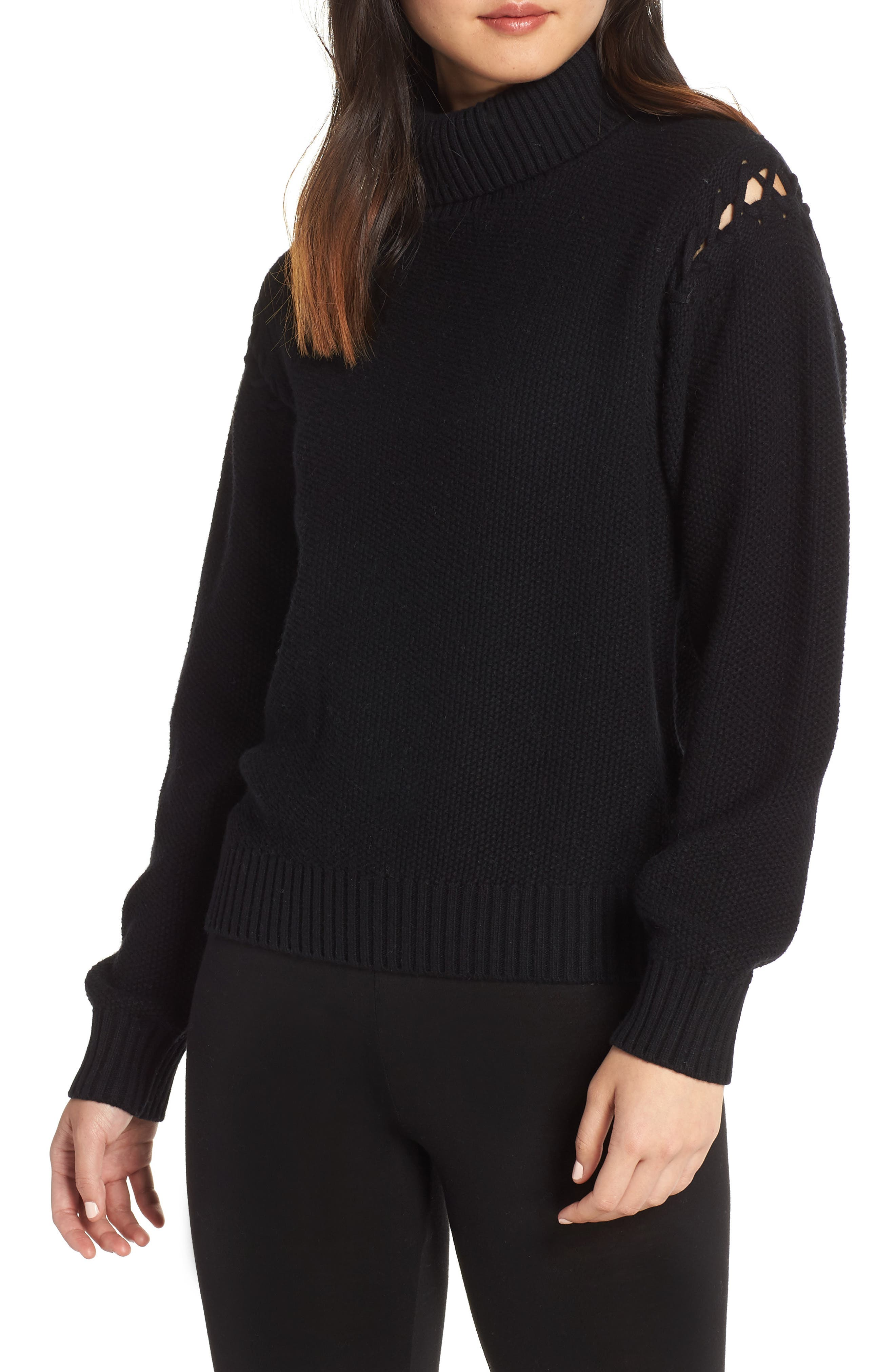 Gisele Turtleneck Sweater,                             Main thumbnail 1, color,                             BLACK