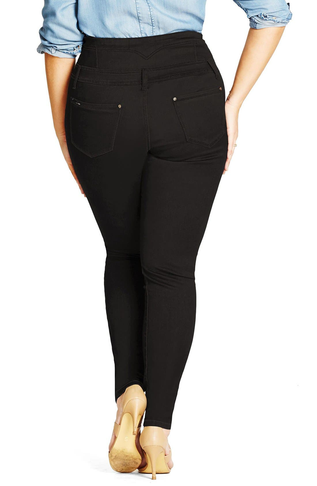 'Harley' Corset Waist Skinny Jeans,                             Alternate thumbnail 2, color,