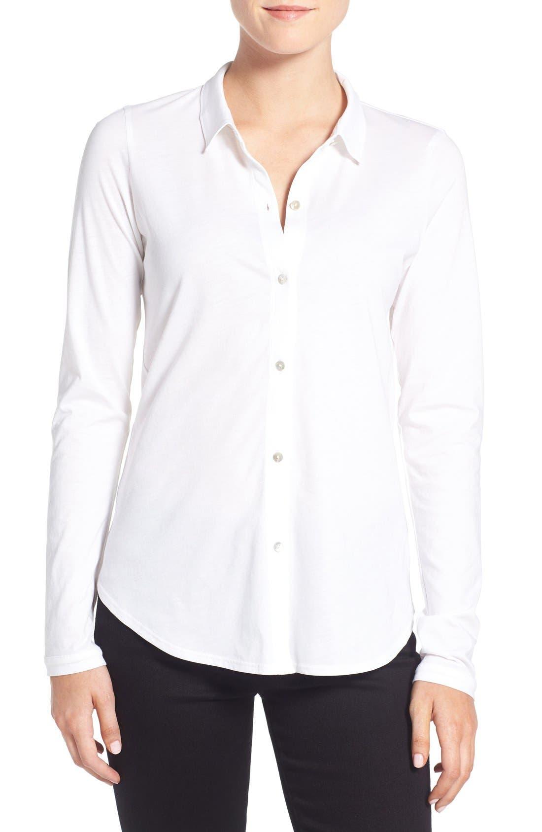 Organic Cotton Jersey Classic Collar Shirt,                             Main thumbnail 2, color,