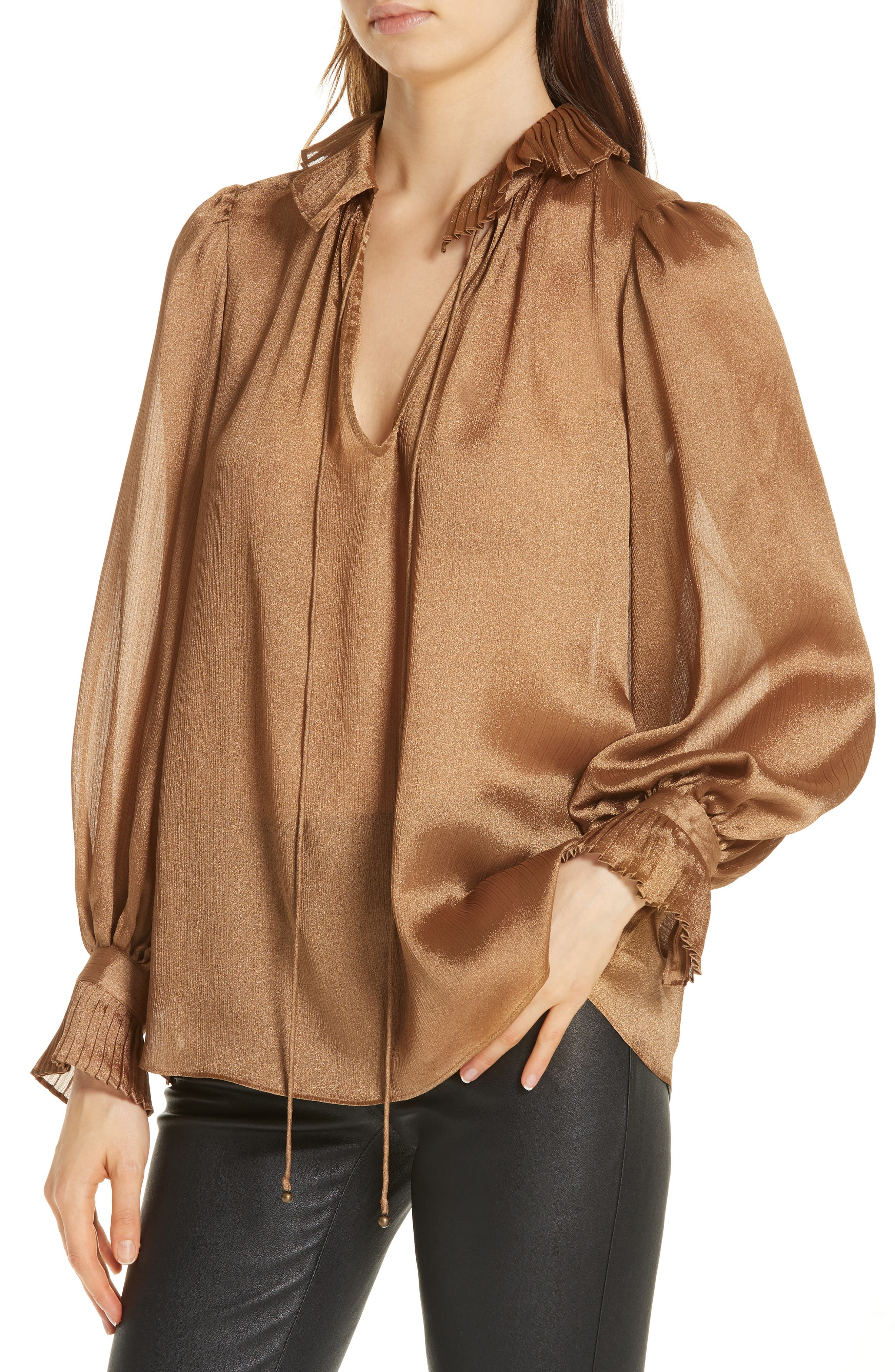 Crinkle Tie Neck Blouse,                             Alternate thumbnail 4, color,                             710