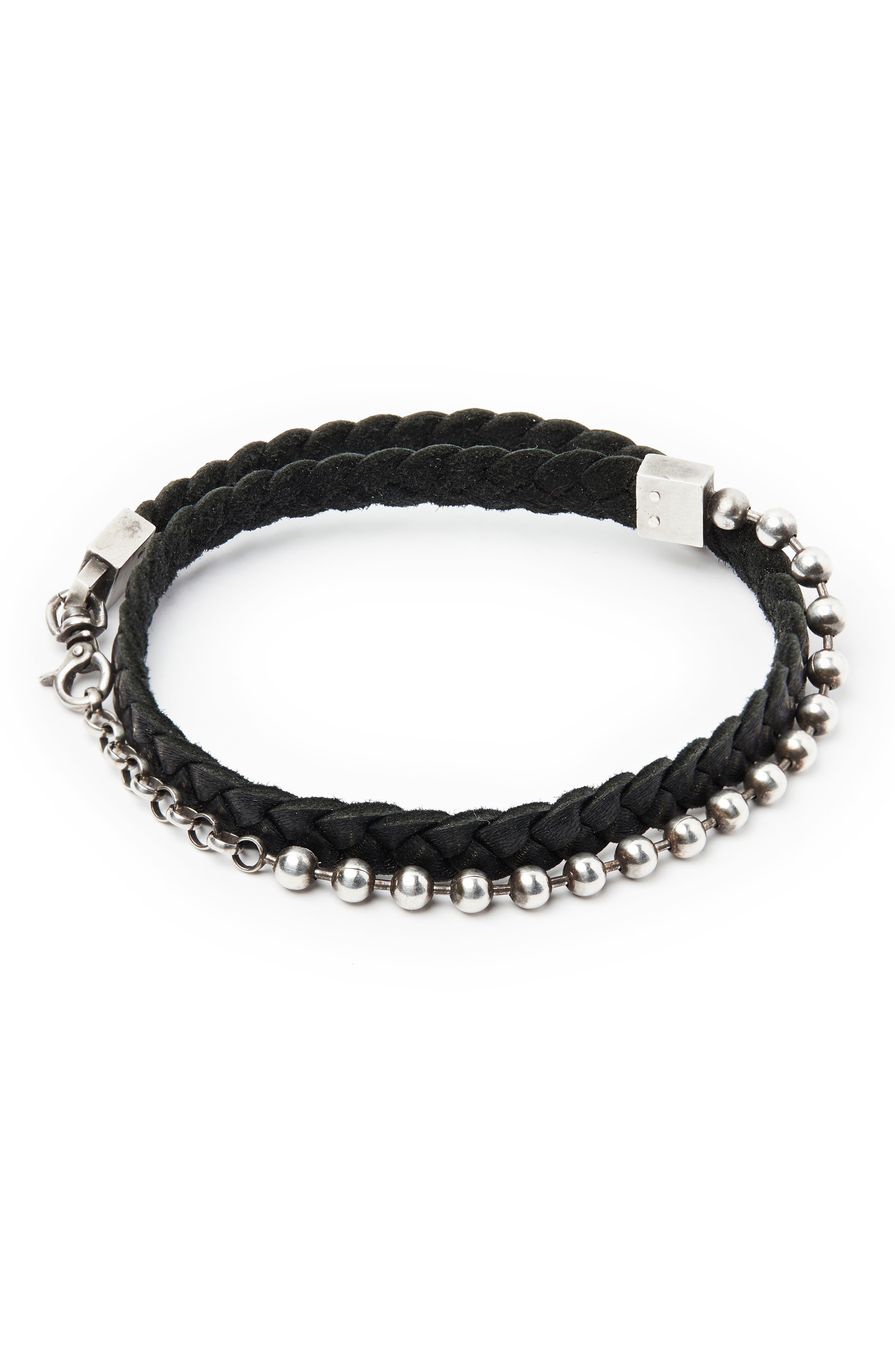 Leather & Sterling Silver Bracelet,                             Main thumbnail 1, color,                             SILVER/ BLACK
