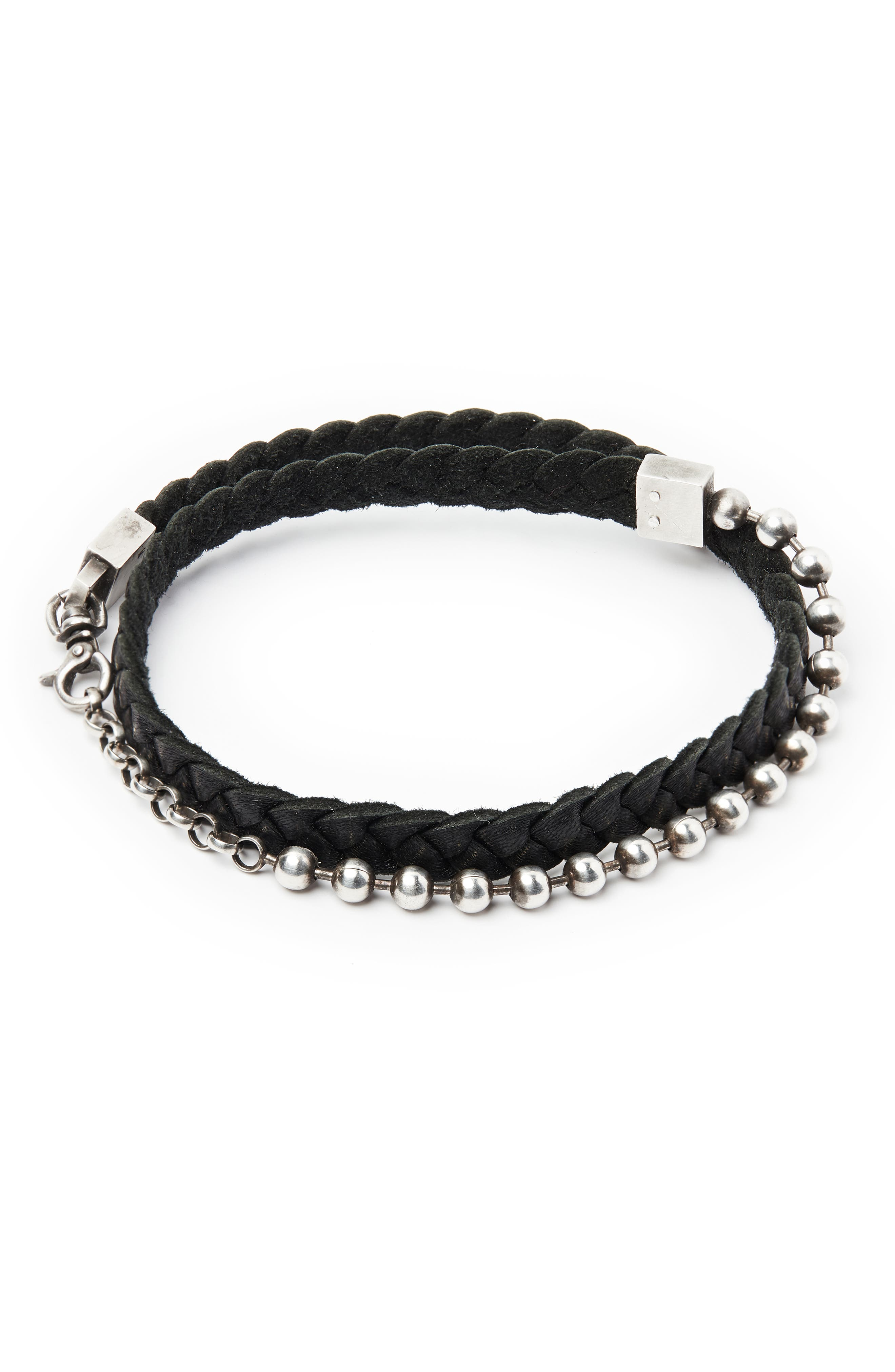 Leather & Sterling Silver Bracelet,                         Main,                         color, SILVER/ BLACK