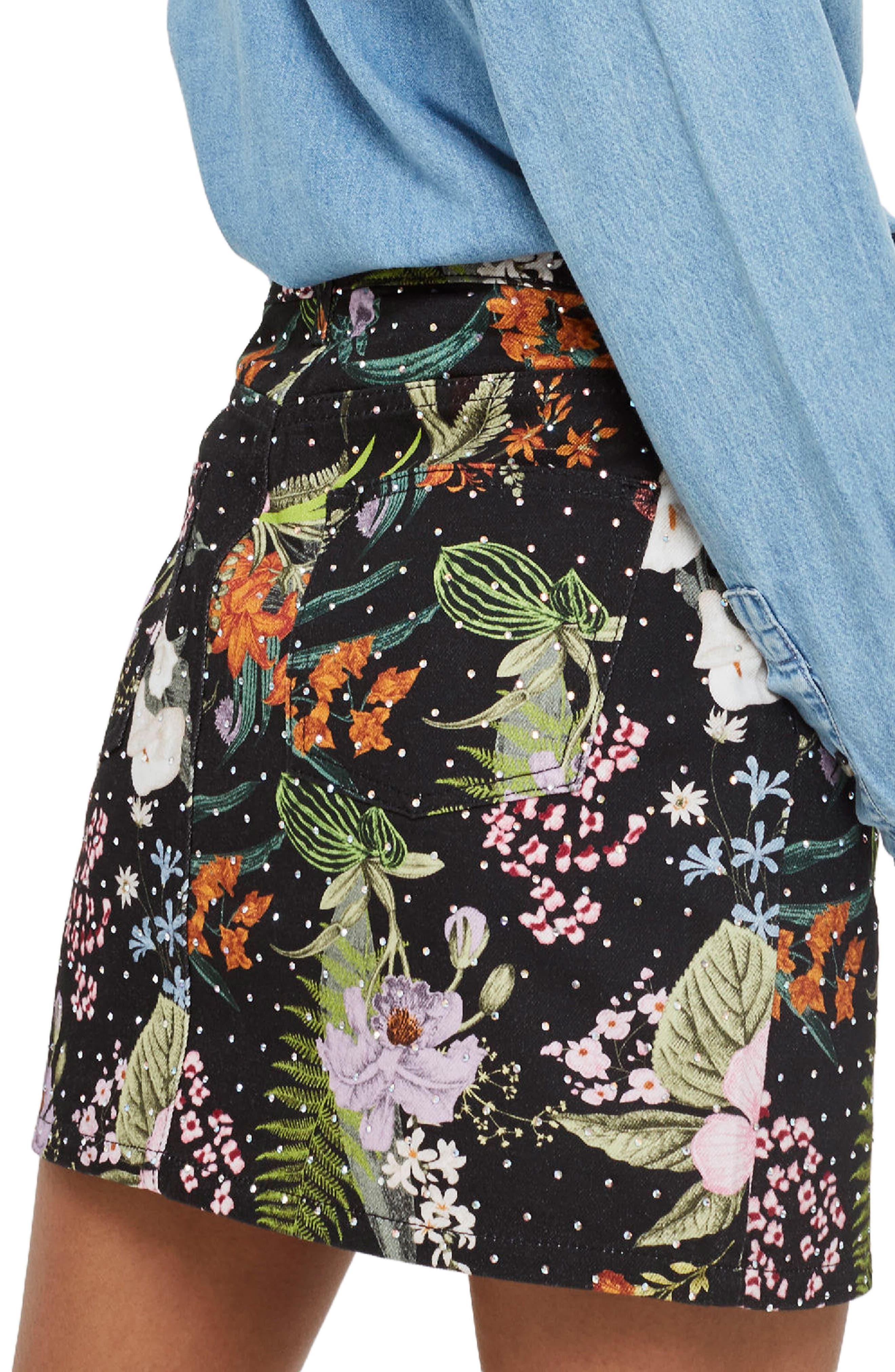 Floral Crystal Denim Skirt,                             Alternate thumbnail 2, color,                             001