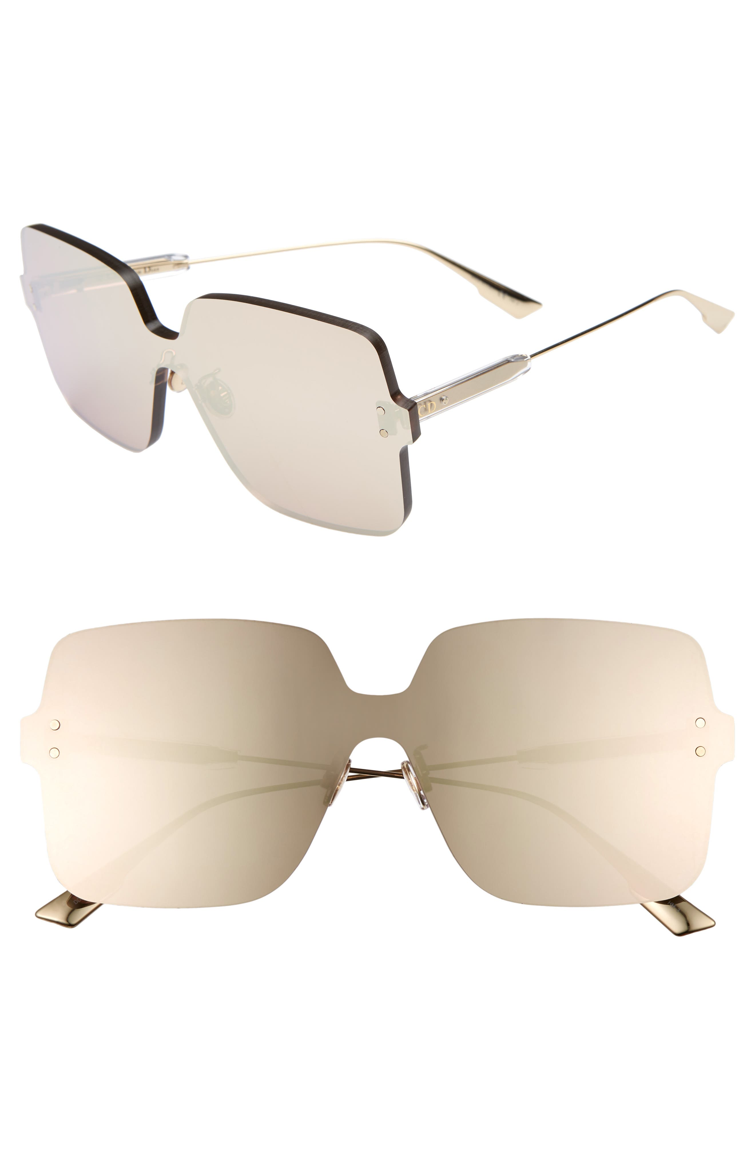 Christian Dior Quake1 147Mm Square Rimless Shield Sunglasses - Gold Copper