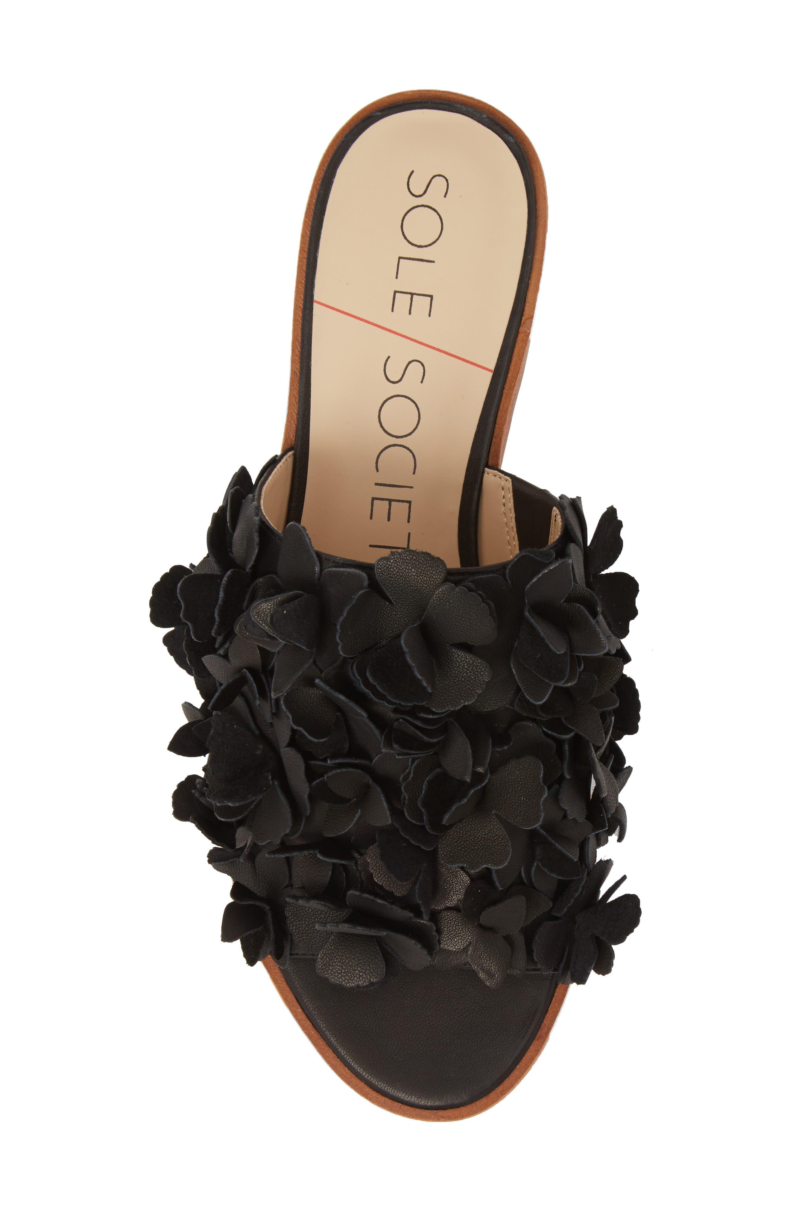 Caelyn Embellished Flat Sandal,                             Alternate thumbnail 5, color,                             BLACK