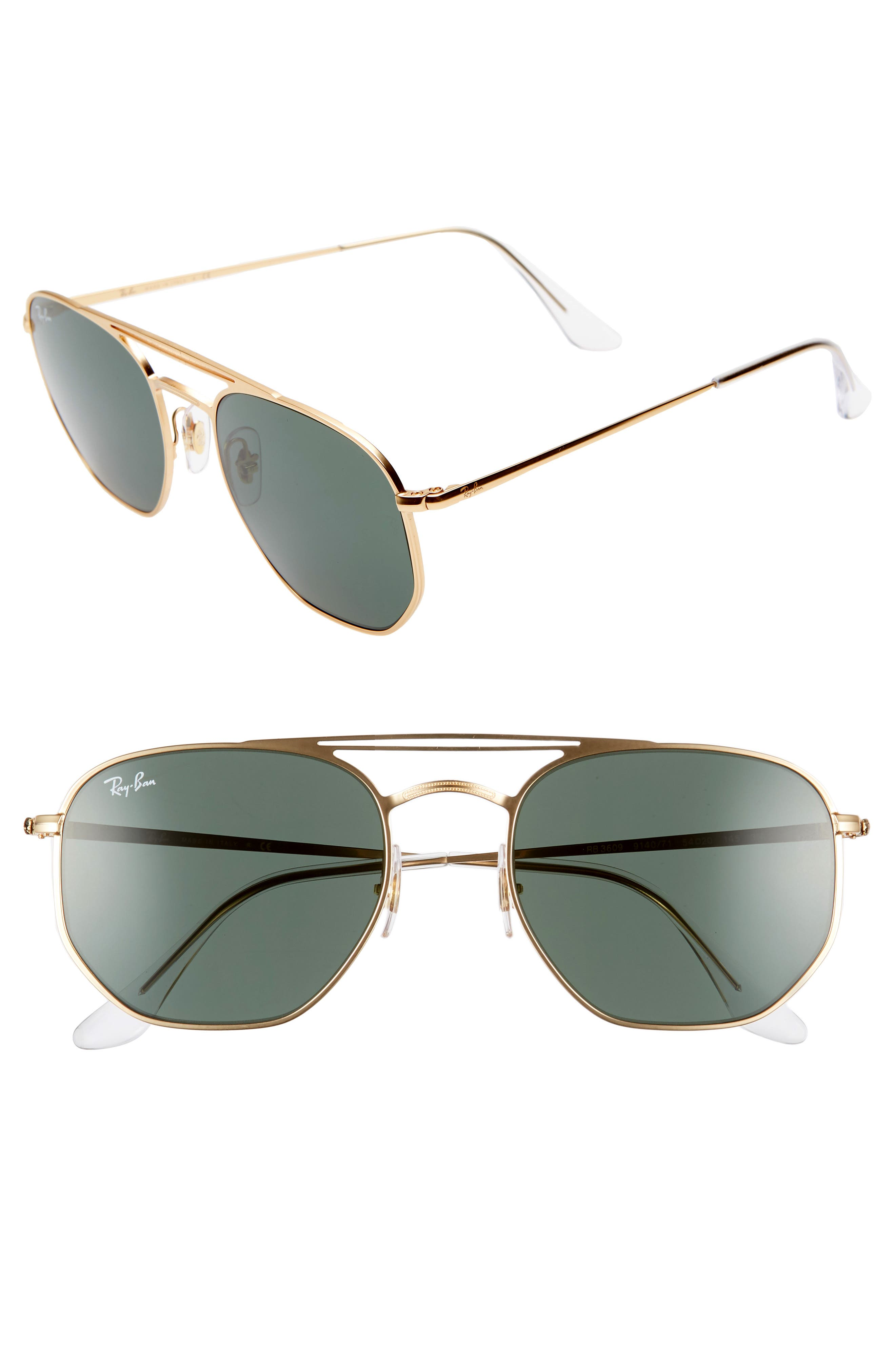 54mm Aviator Sunglasses,                             Main thumbnail 1, color,                             GOLD/ GREEN SOLID