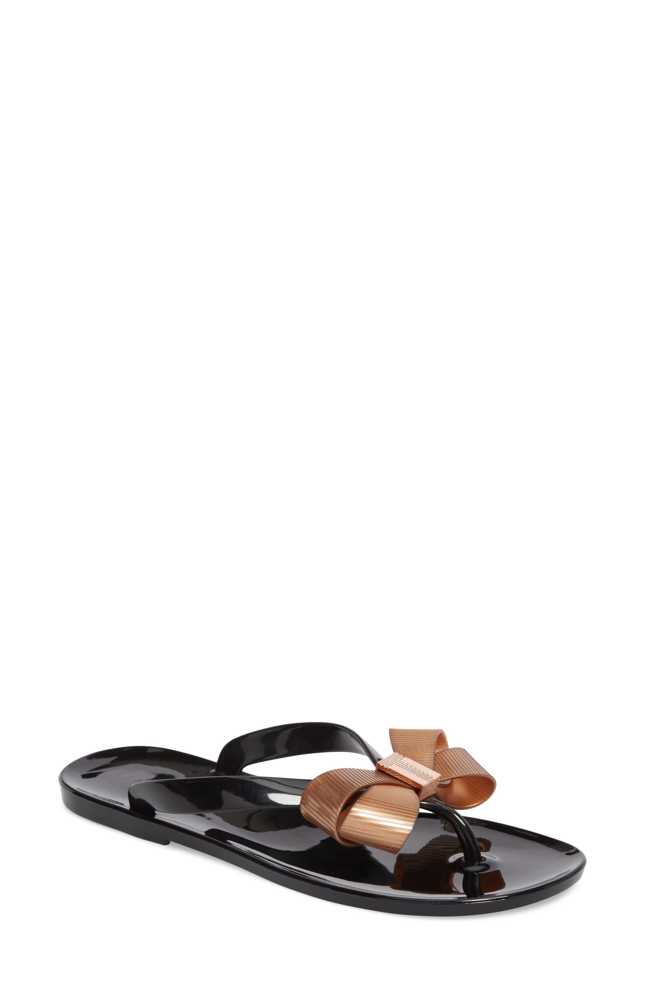 Suszie Flip Flop,                         Main,                         color, BLACK/ ROSE GOLD