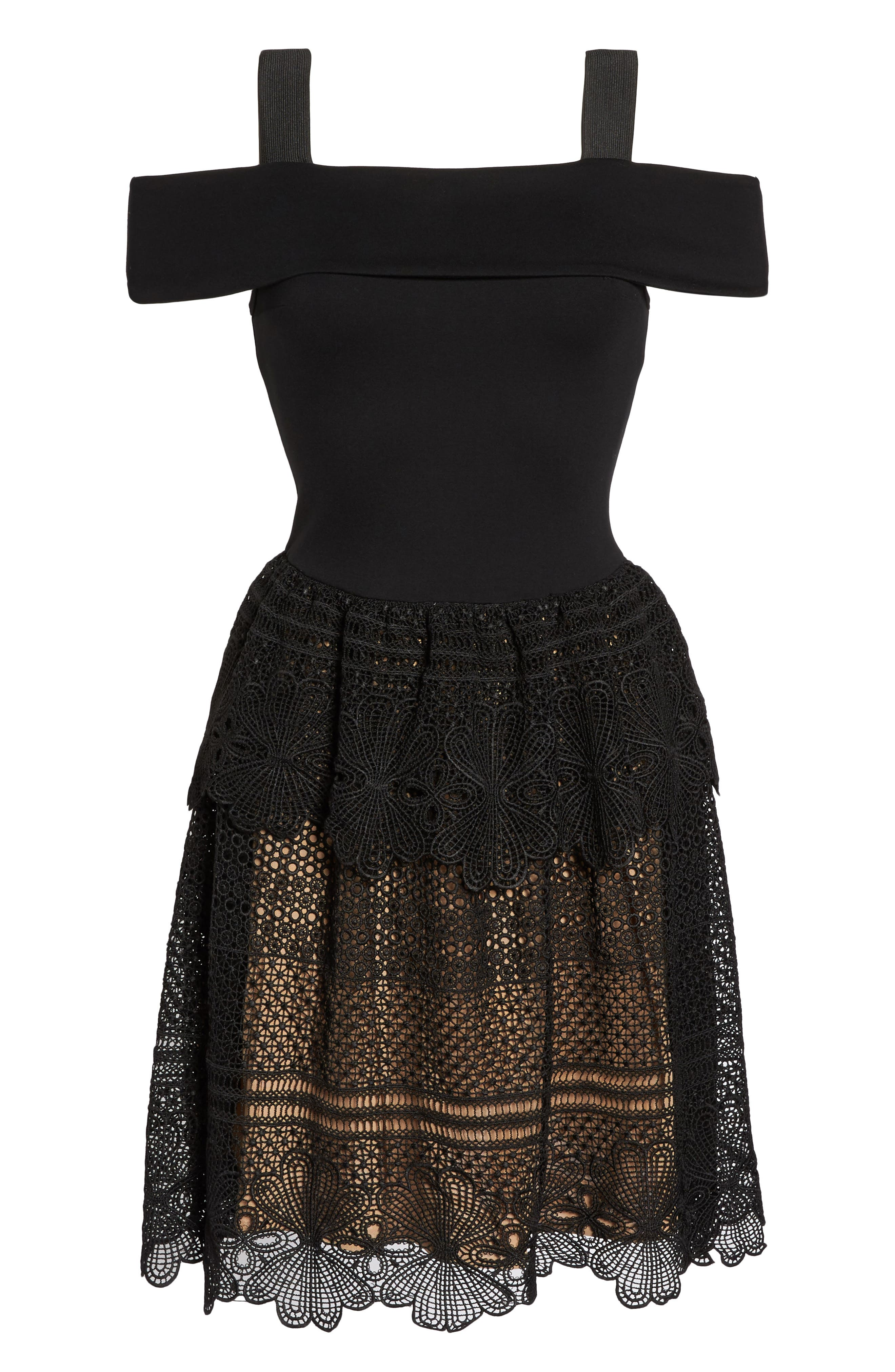 Amelia Lace A-Line Dress,                             Alternate thumbnail 6, color,                             001