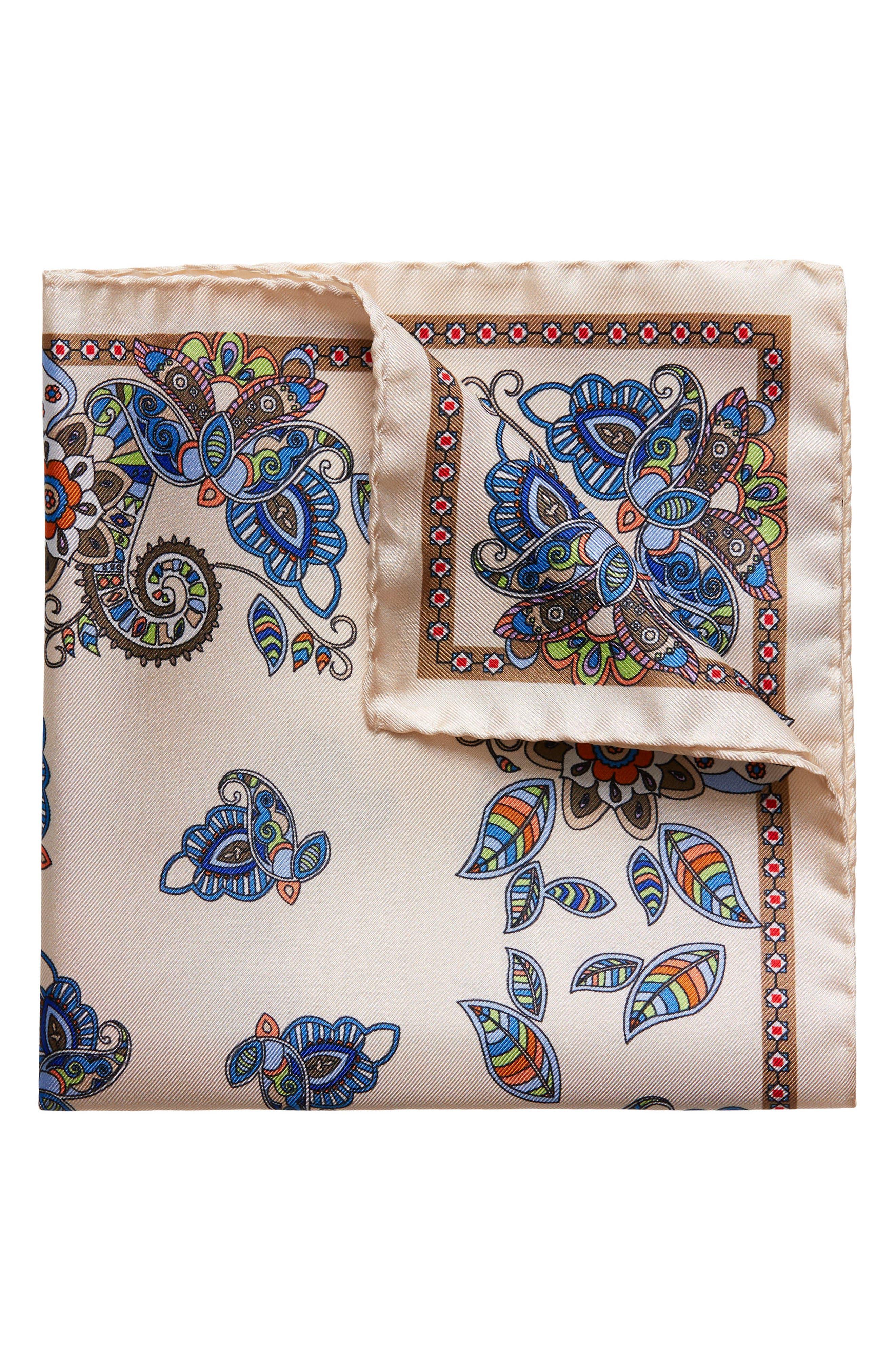 Paisley Silk Pocket Square,                             Main thumbnail 1, color,                             100