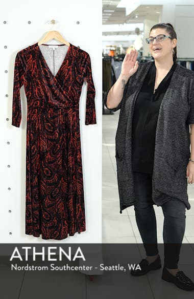 Paisley Velvet Faux Wrap Dress, sales video thumbnail