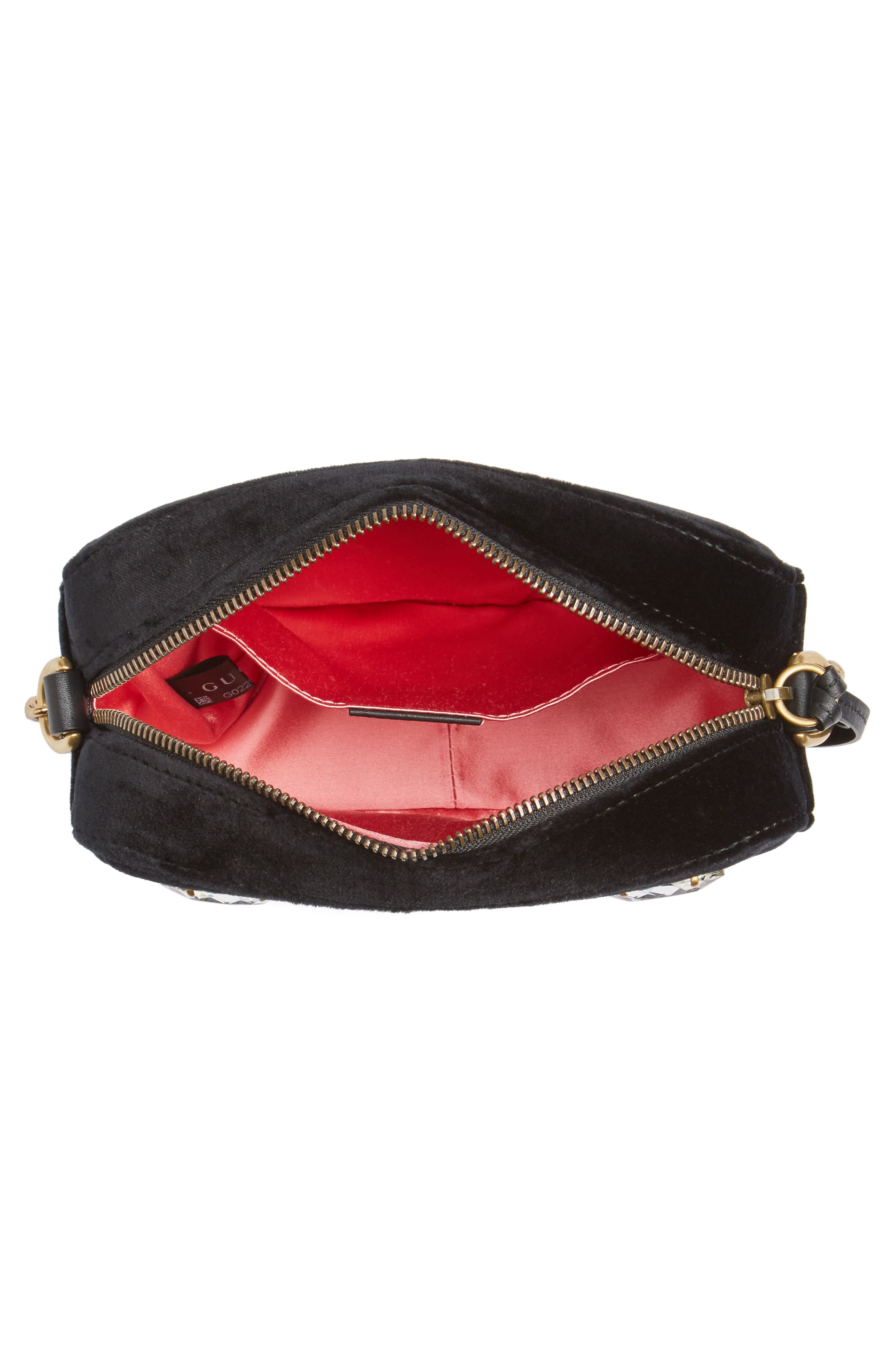 GG Marmont Crystal Matelassé Quilted Velvet Crossbody Bag,                             Alternate thumbnail 4, color,                             001