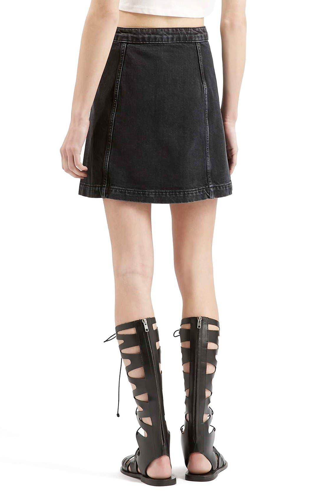 Button Front A-Line Denim Skirt,                             Alternate thumbnail 3, color,                             001