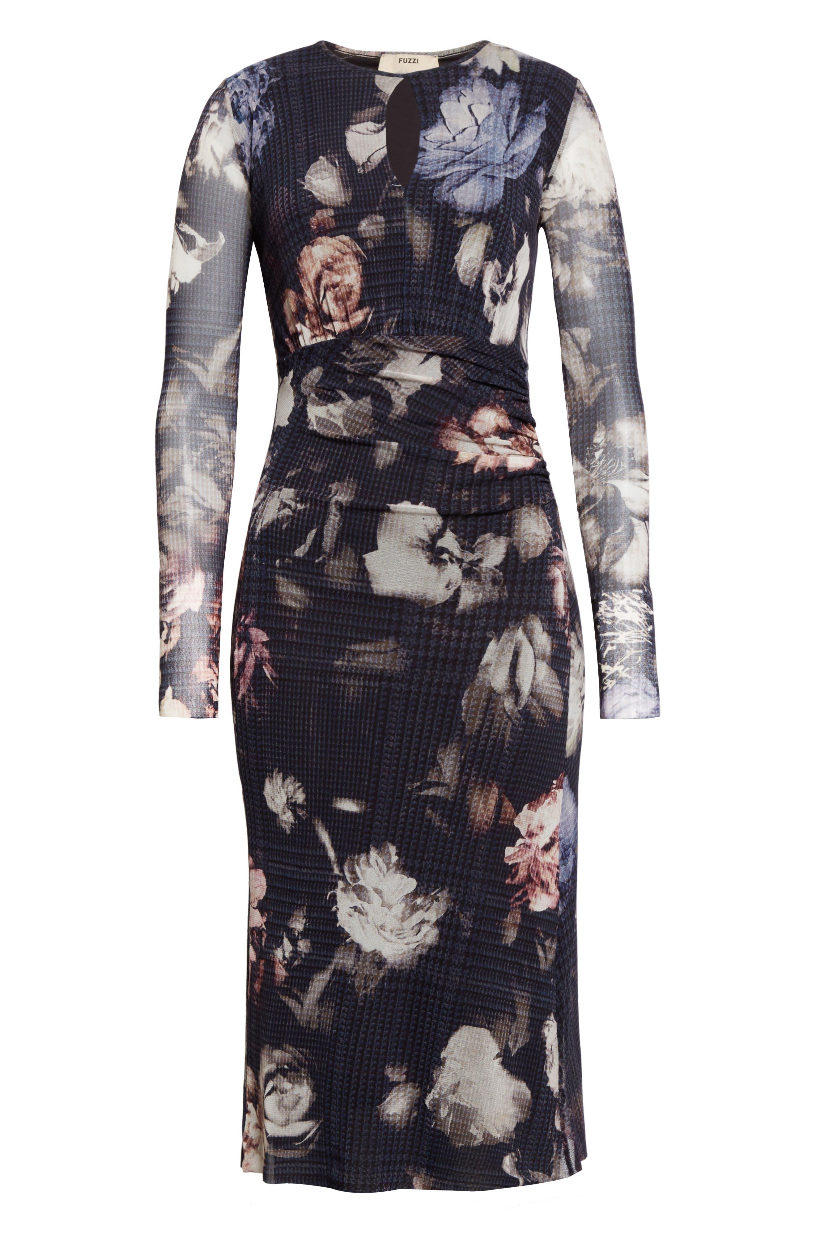 Floral Print Tulle Keyhole Dress,                             Alternate thumbnail 6, color,                             001