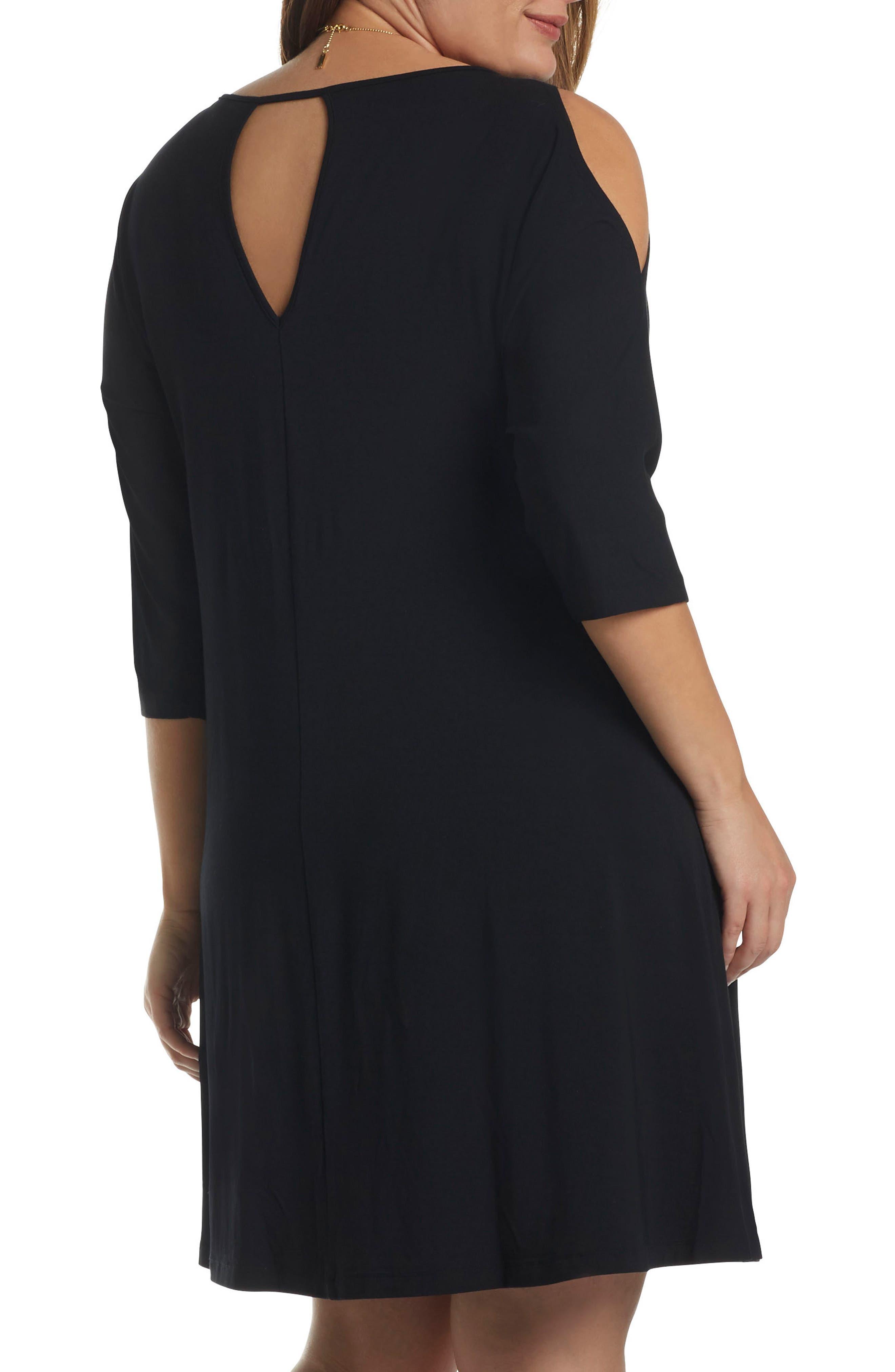 'Naya' Cold Shoulder A-Line Dress,                             Alternate thumbnail 2, color,                             001