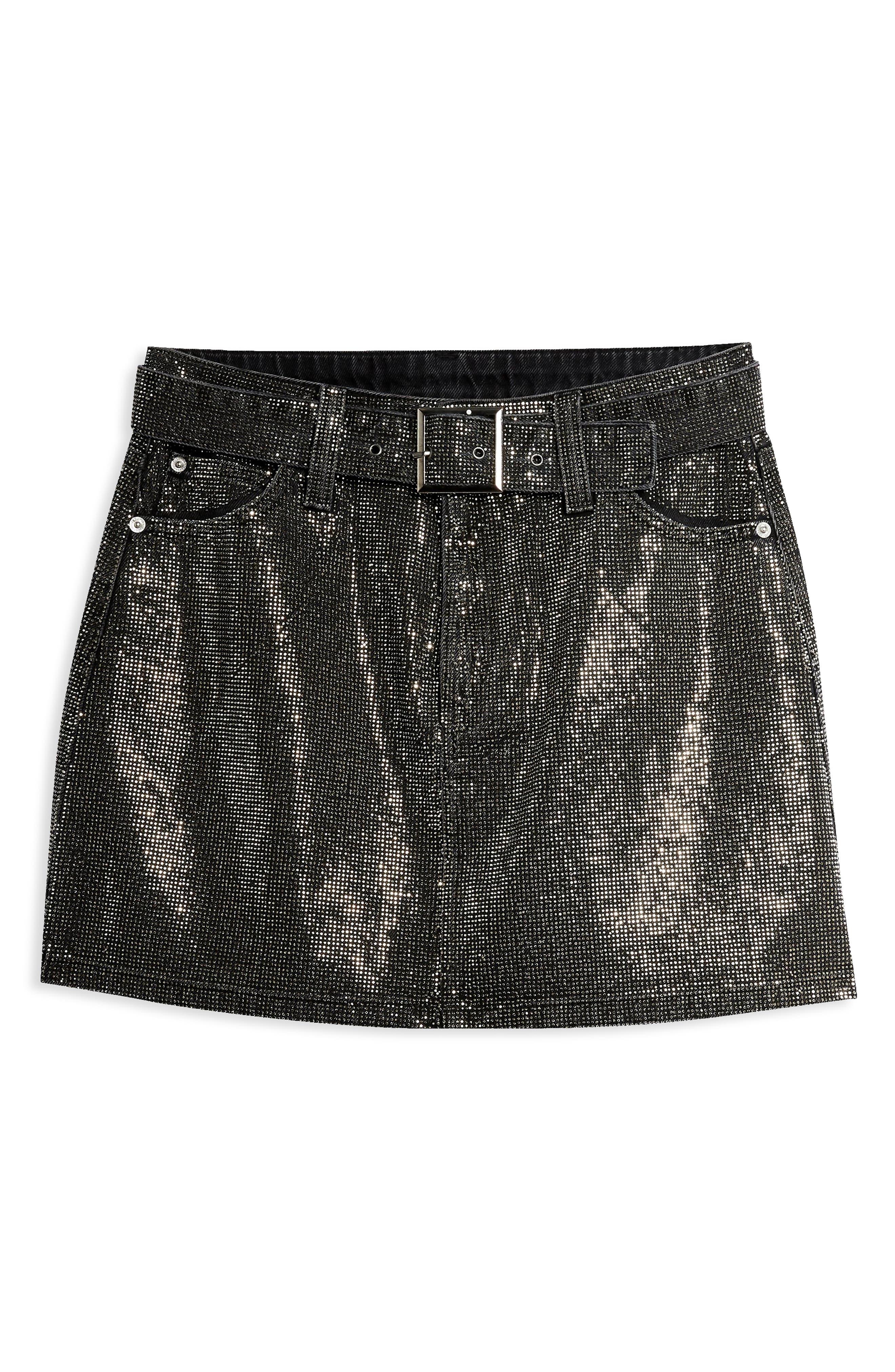 Crystal Pin Stud Denim Skirt,                             Alternate thumbnail 3, color,                             WASHED BLACK