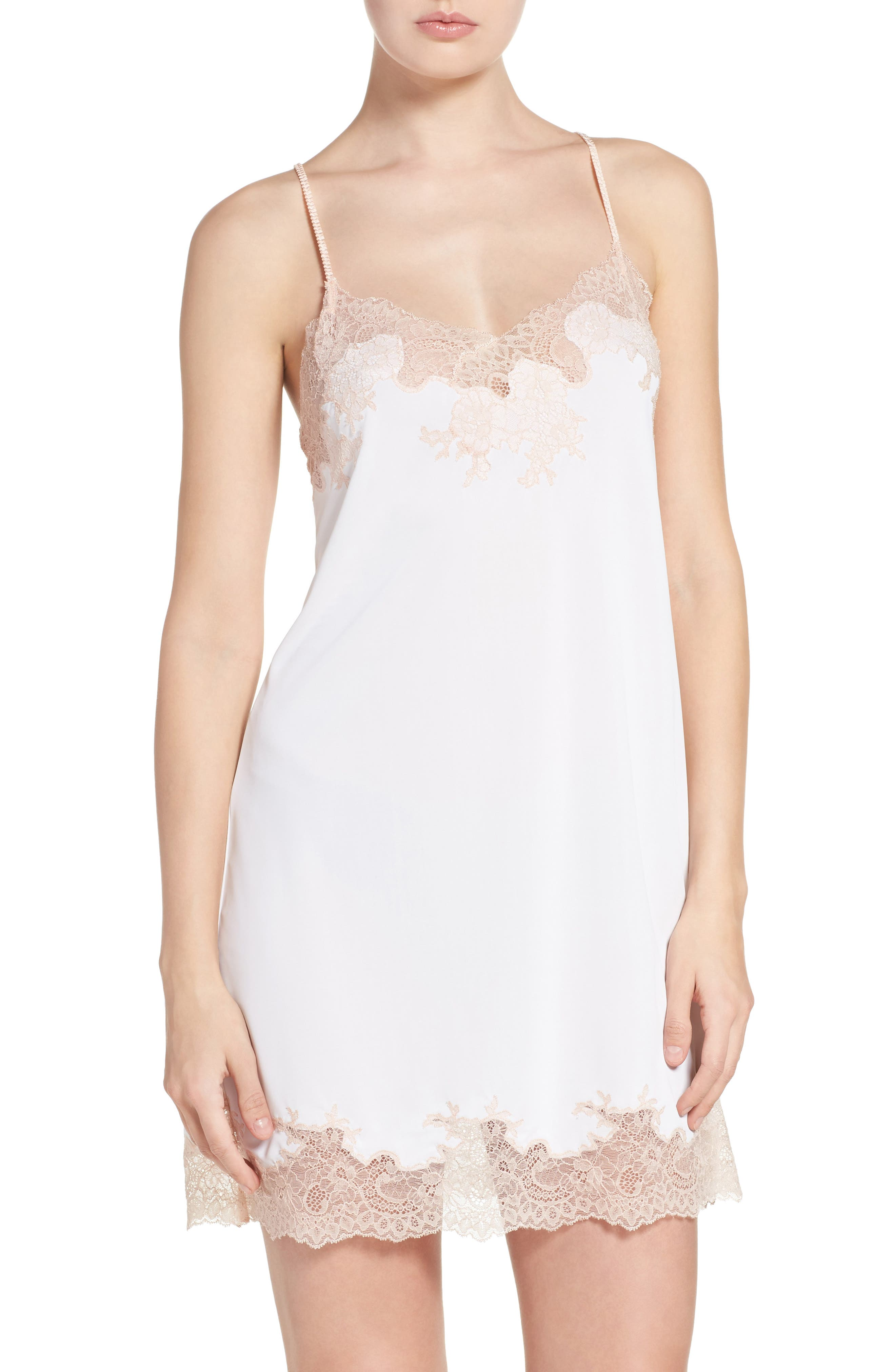 Enchant Chemise,                             Main thumbnail 1, color,                             IVORY/ CAMEO ROSE LACE