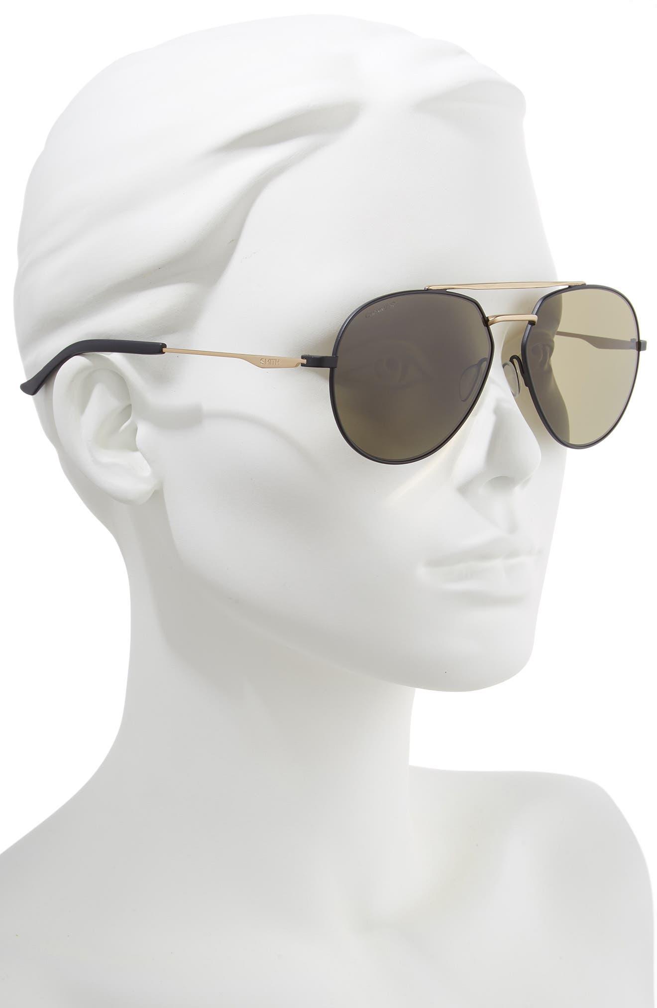 SMITH,                             Westgate 60mm ChromaPop<sup>™</sup> Polarized Aviator Sunglasses,                             Alternate thumbnail 2, color,                             MATTE BLACK/ GOLD