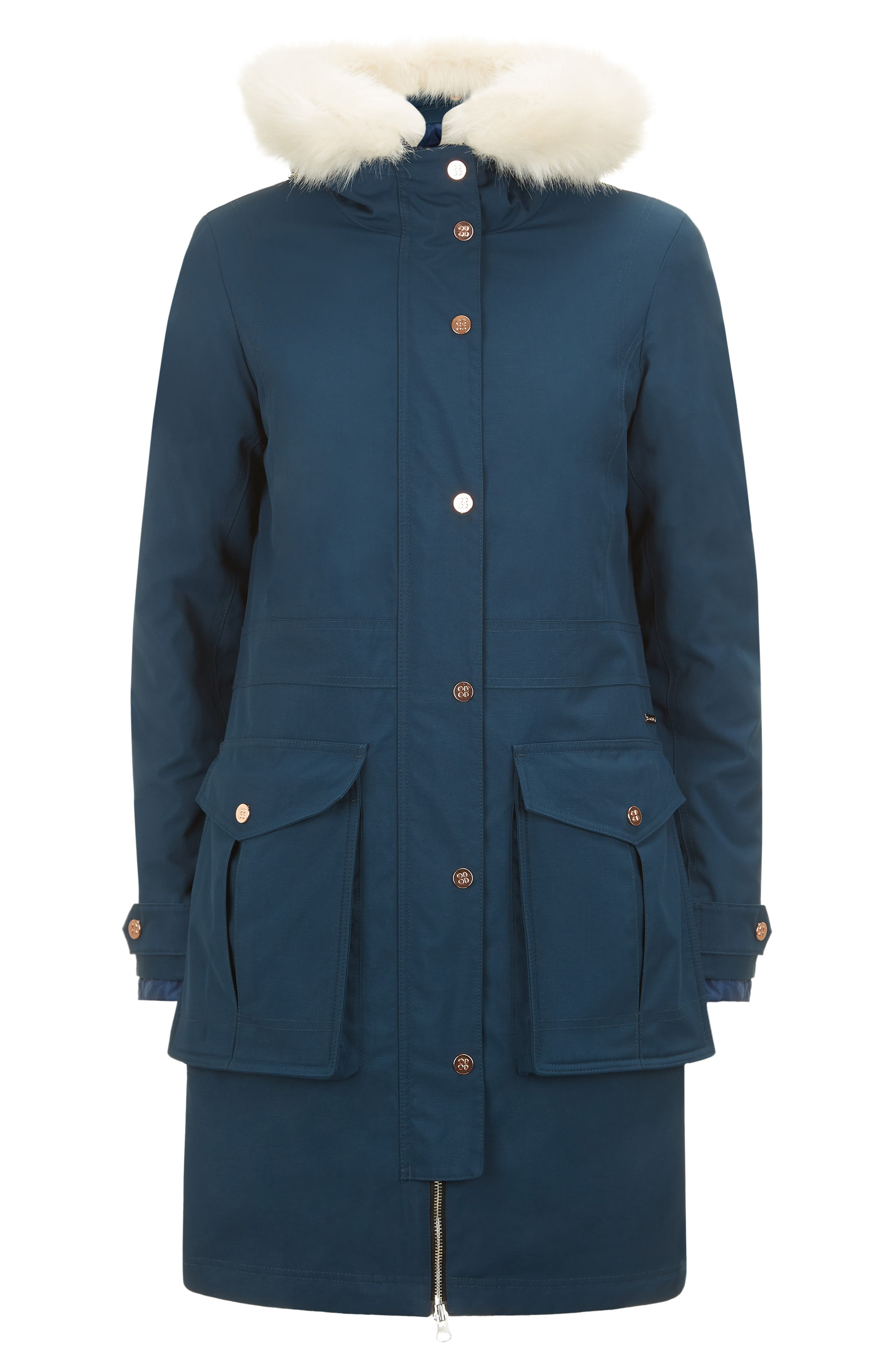 Highlands Three-In-One Faux Fur & Faux Shearling Coat,                             Alternate thumbnail 6, color,                             BEETLE BLUE