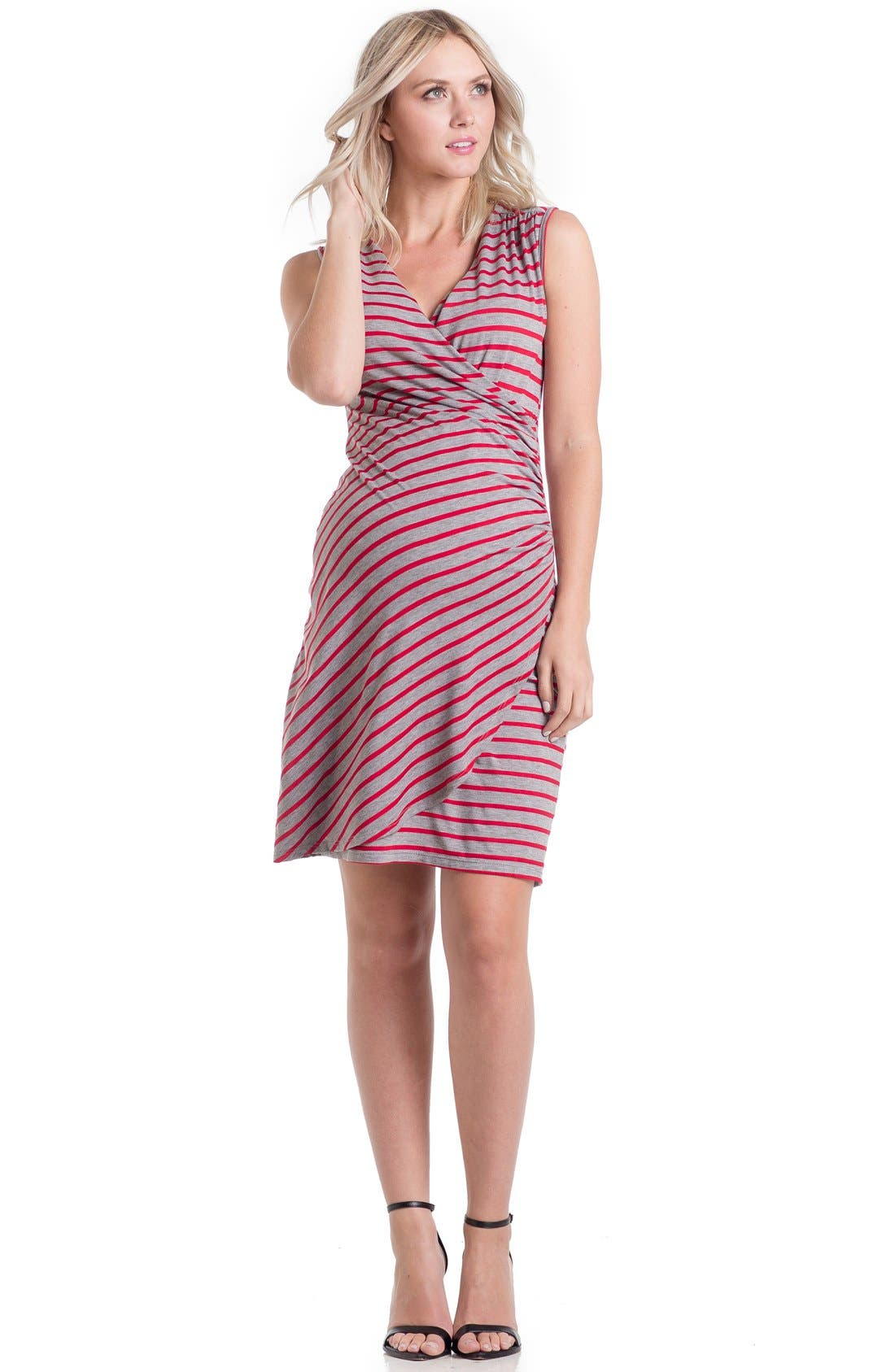 'Brynley' Surplice Maternity Dress,                             Alternate thumbnail 3, color,                             061