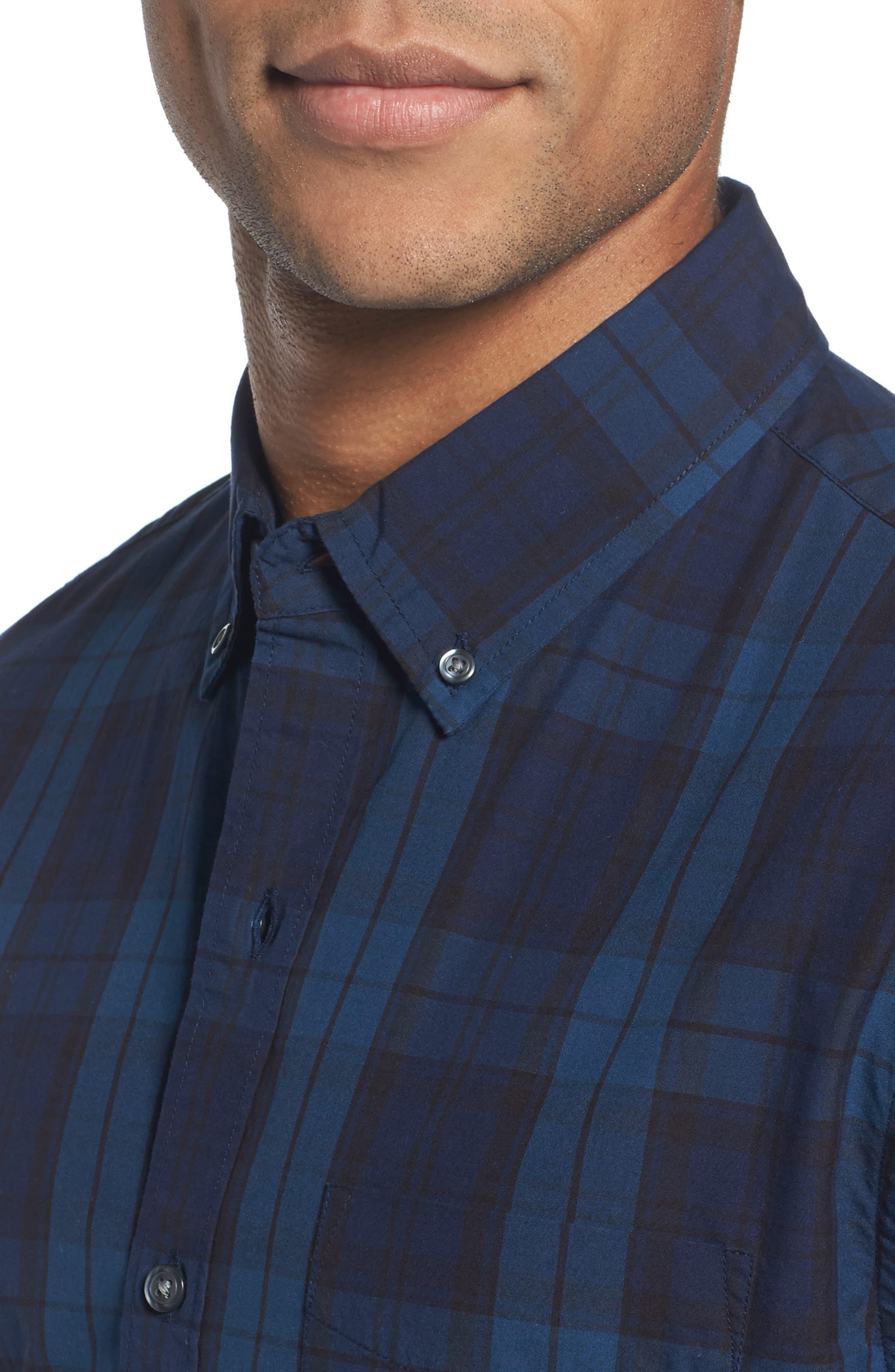 Slim Fit Plaid Sport Shirt,                             Alternate thumbnail 4, color,                             400