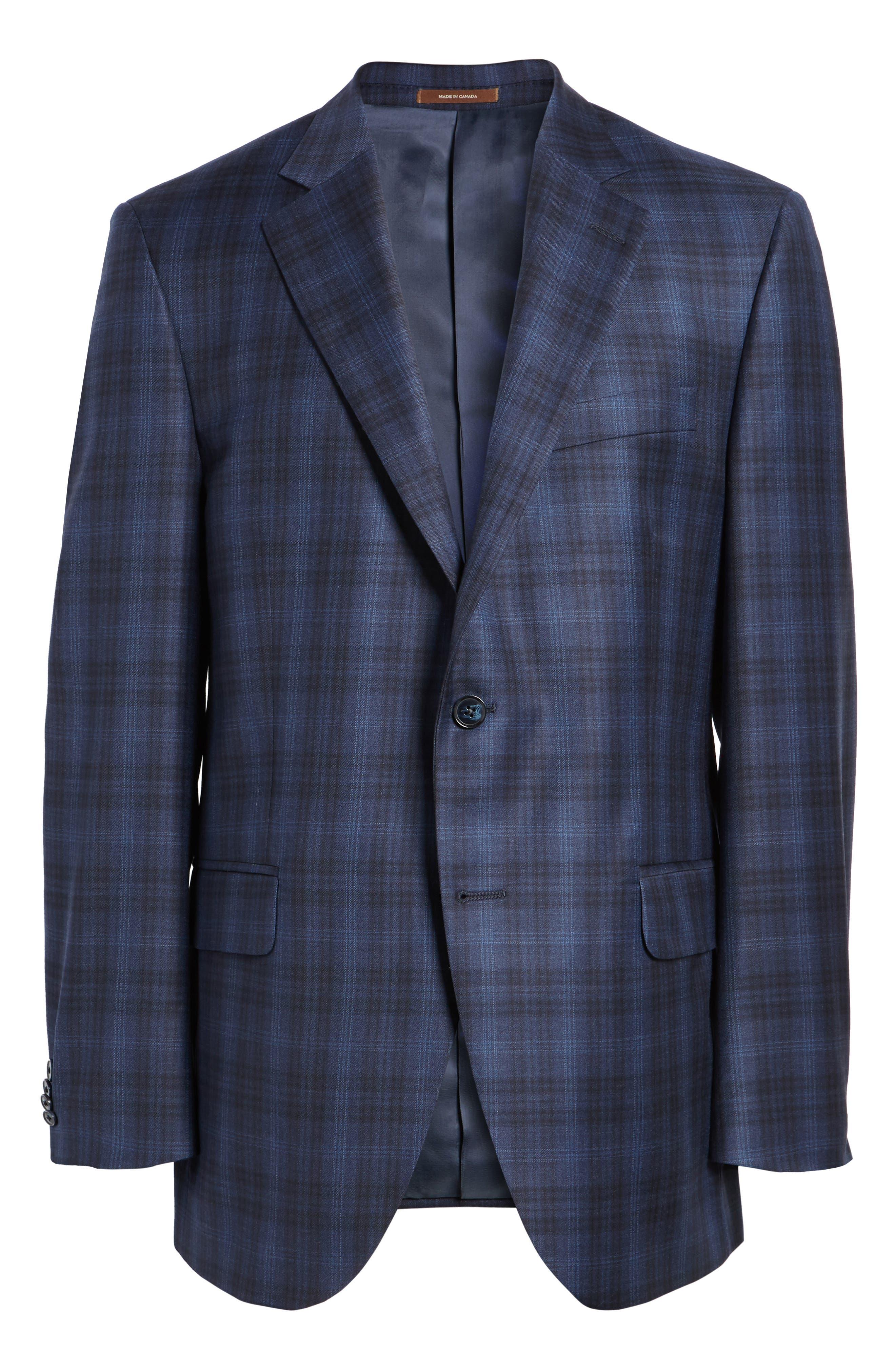 Flynn Classic Fit Plaid Wool Sport Coat,                             Alternate thumbnail 5, color,