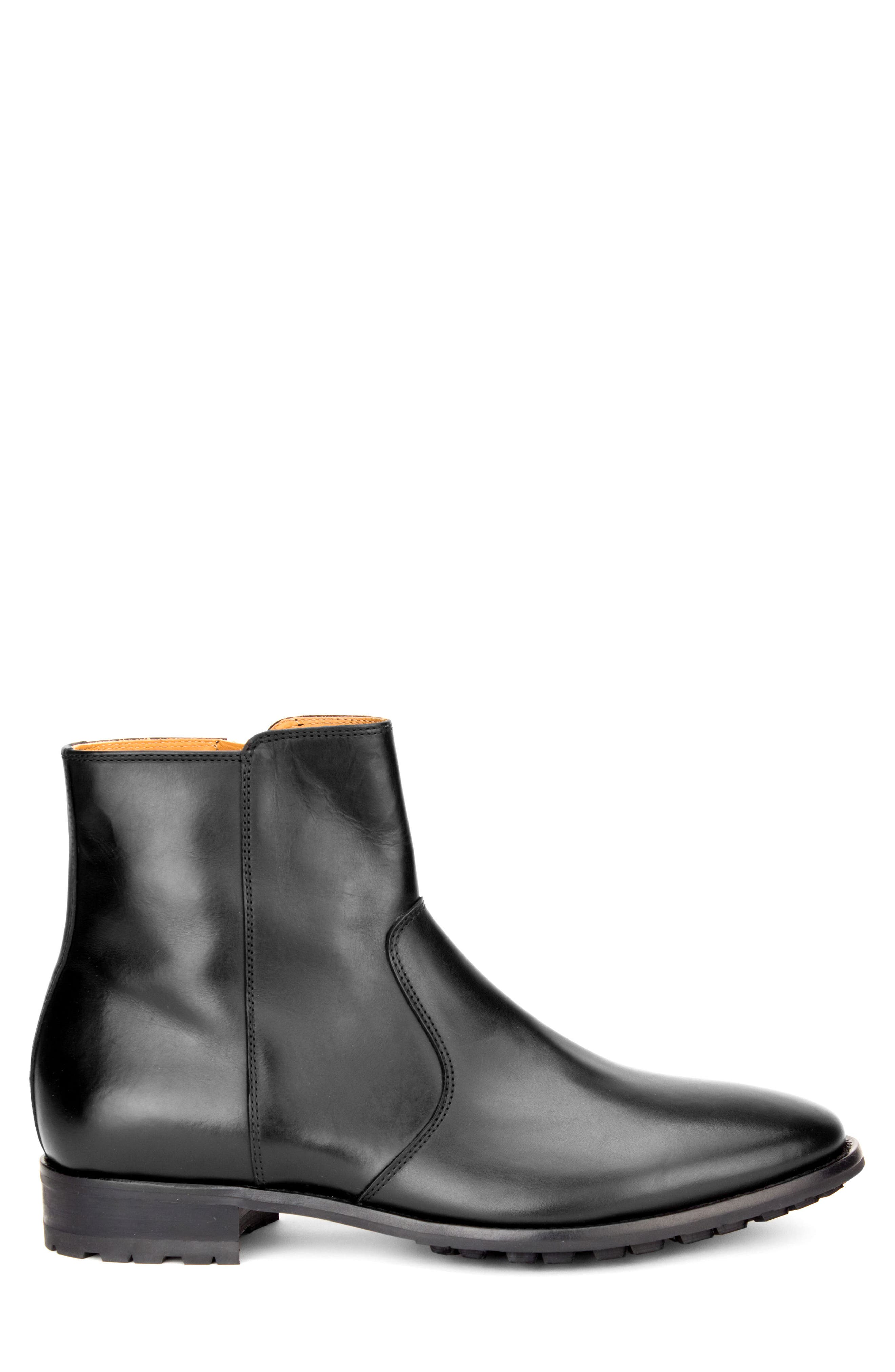 Roberts Zip Boot,                             Alternate thumbnail 3, color,                             BLACK LEATHER