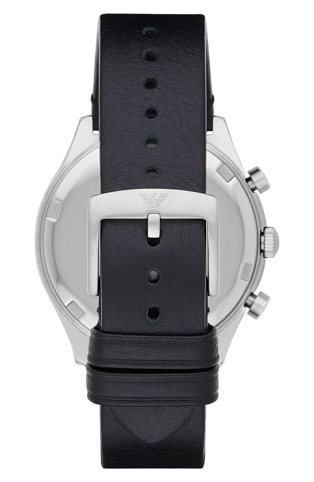 Chronograph Leather Strap Watch, 43mm,                             Alternate thumbnail 2, color,                             001