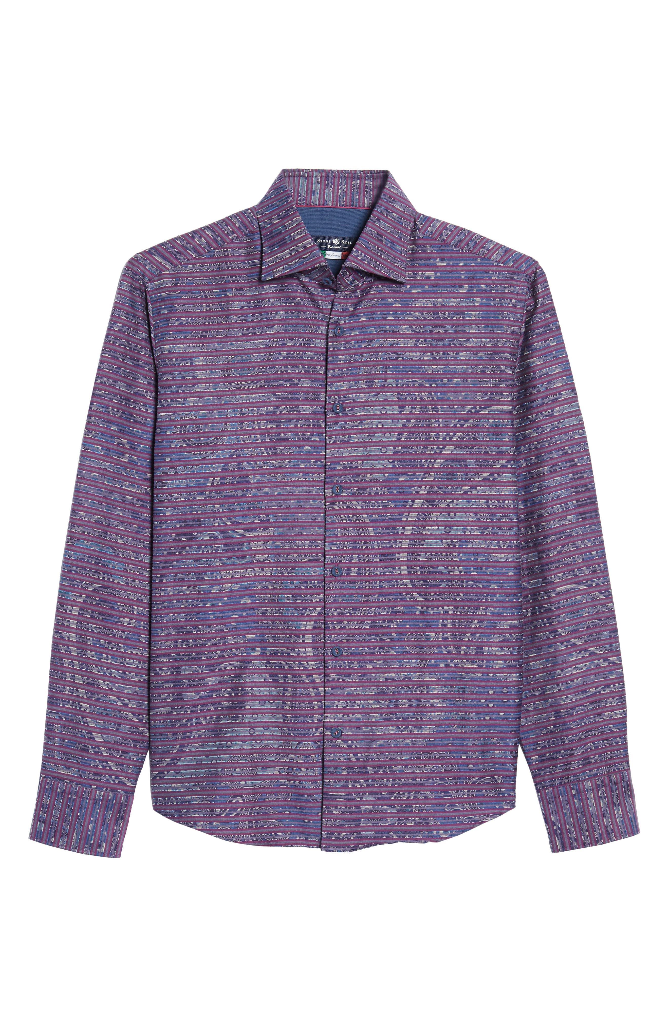 Regular Fit Stripe Paisley Sport Shirt,                             Alternate thumbnail 6, color,                             645