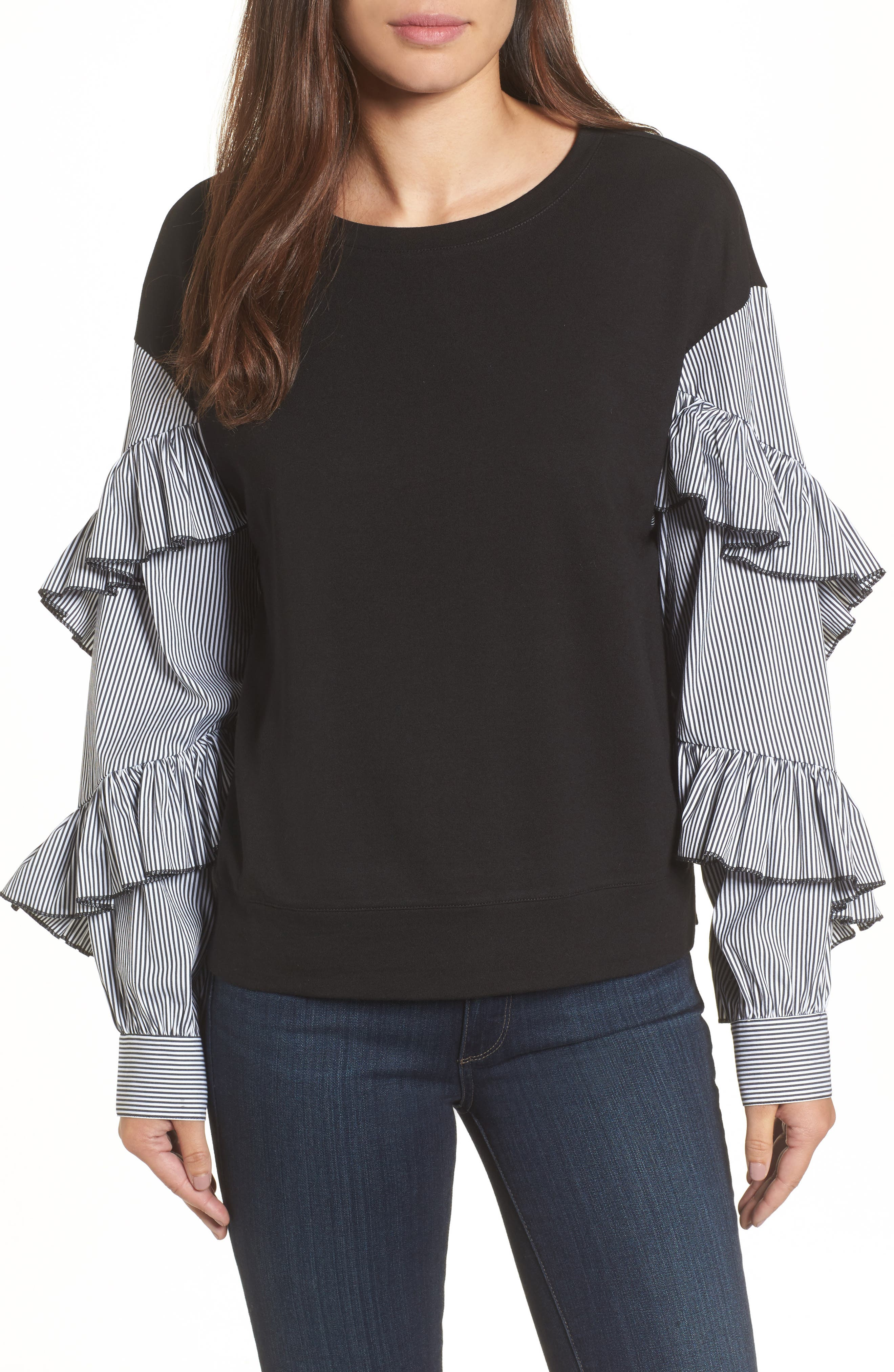 Poplin Ruffle Sleeve Sweatshirt,                             Main thumbnail 1, color,                             001