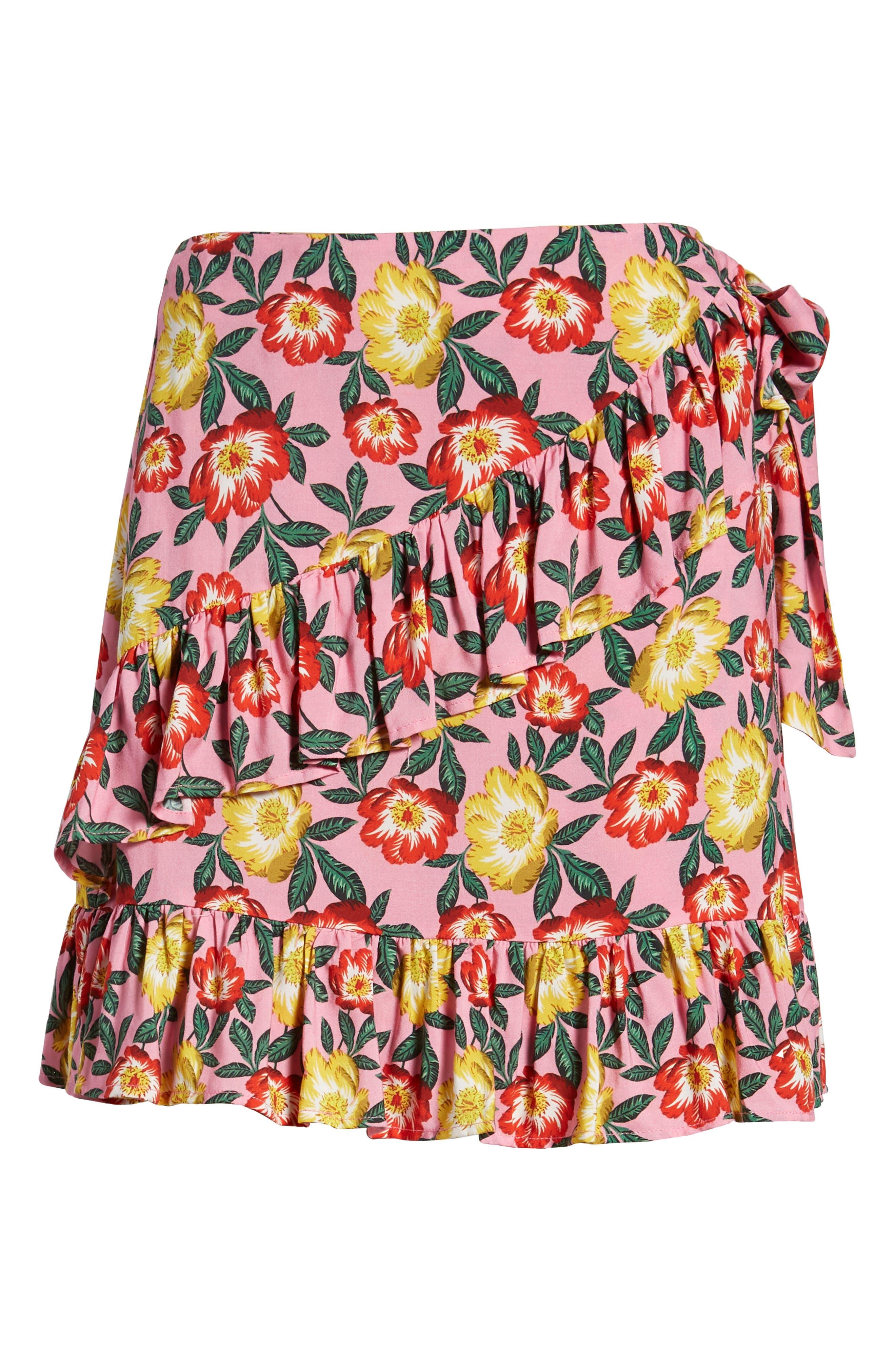 Reunion Floral Print Wrap Skirt,                             Alternate thumbnail 6, color,                             650