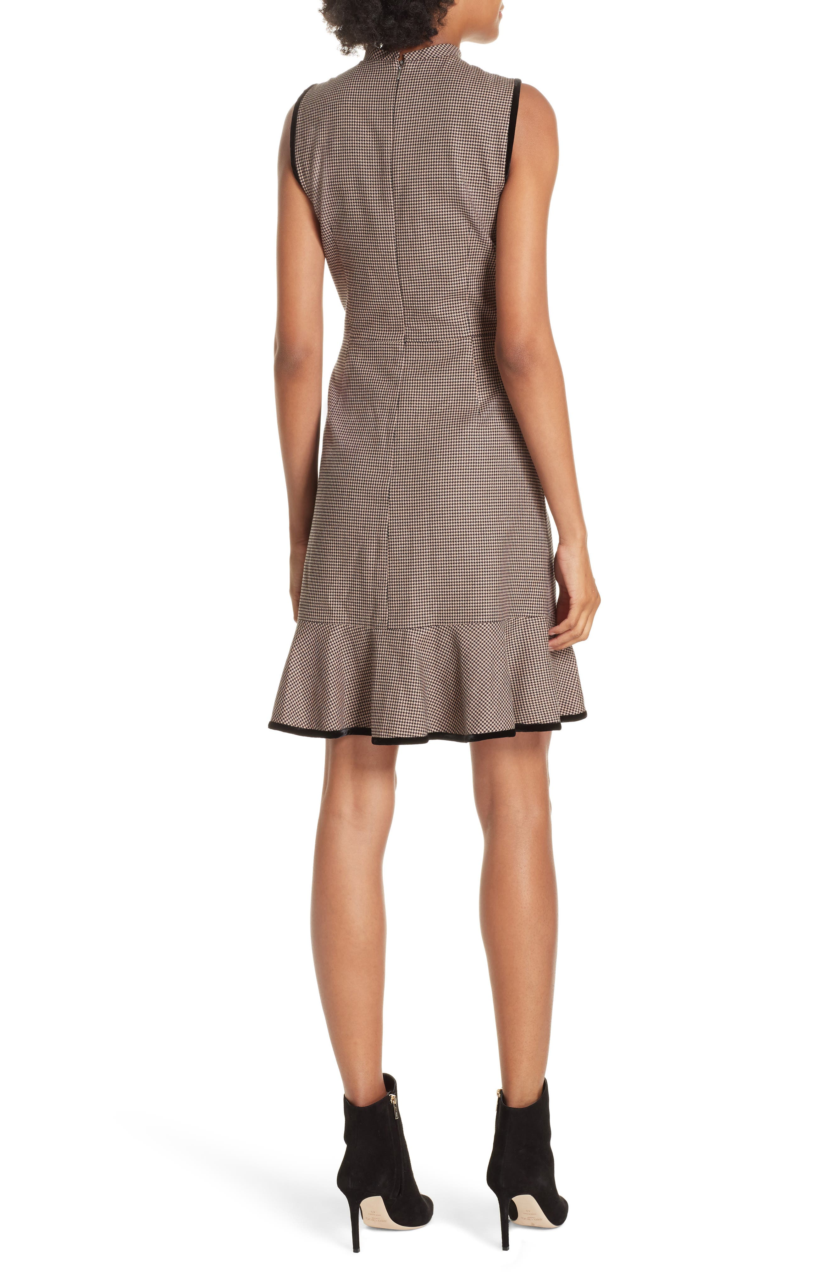 Houndstooth Sheath Dress,                             Alternate thumbnail 2, color,                             CAMEL/ BLACK